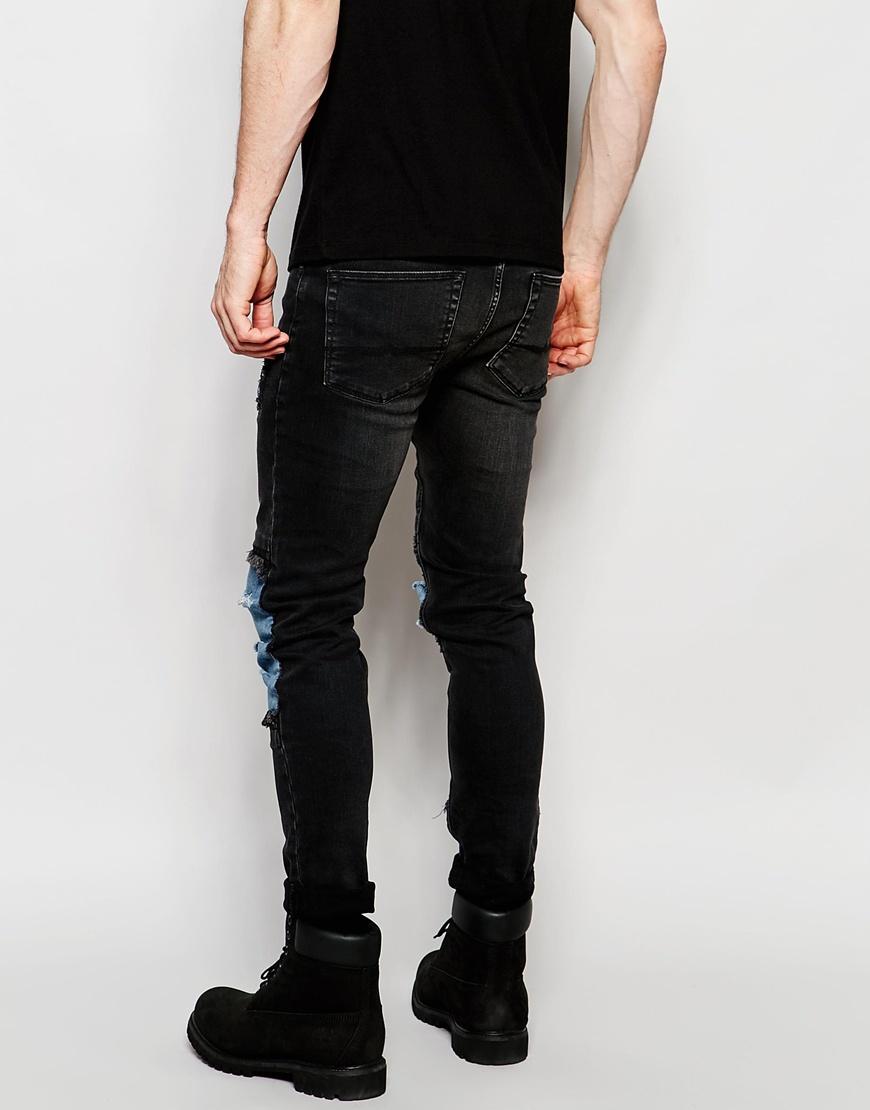 Super Skinny Jeans In Grey With Rip And Repair - Mid grey Asos CaIu8df1W