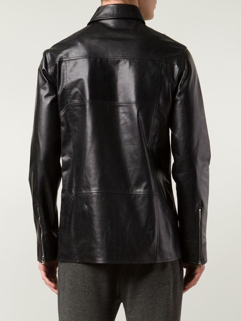 Hood By Air Zip Detail Leather Jacket in Black for Men
