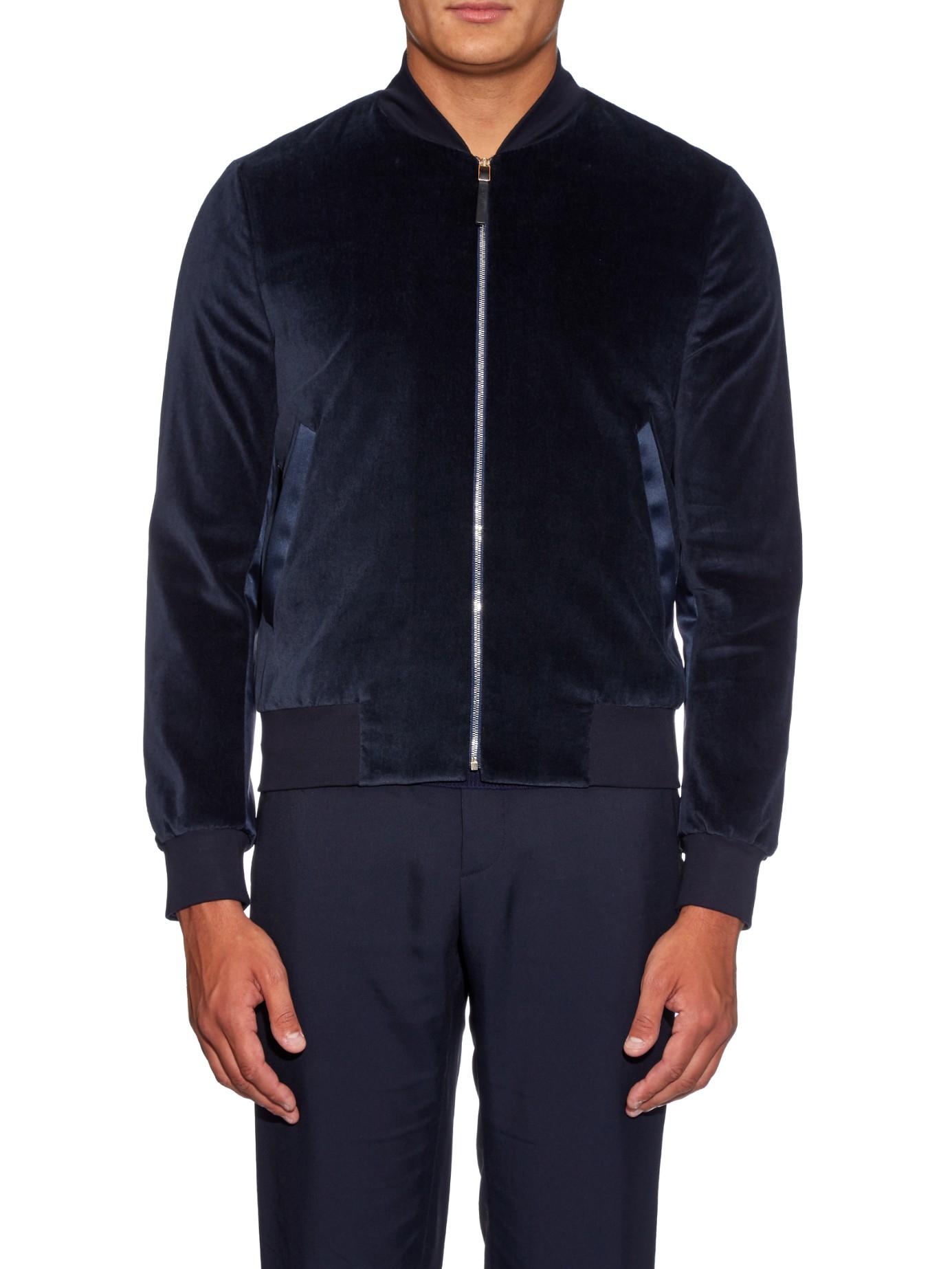 Paul Smith Velvet Bomber Jacket In Navy Blue For Men Lyst
