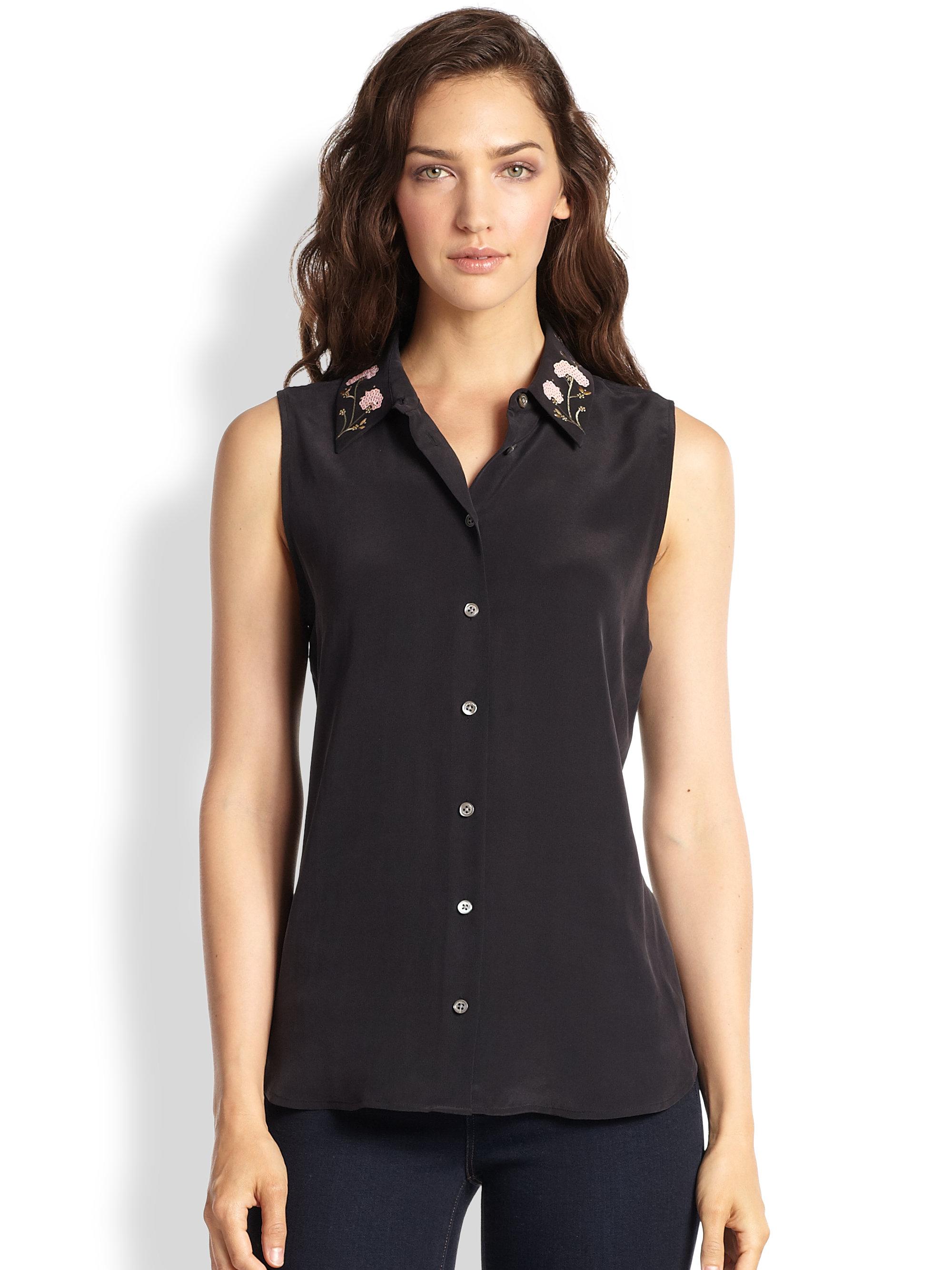 Lyst equipment colleen silk embroidered collar for Equipment black silk shirt