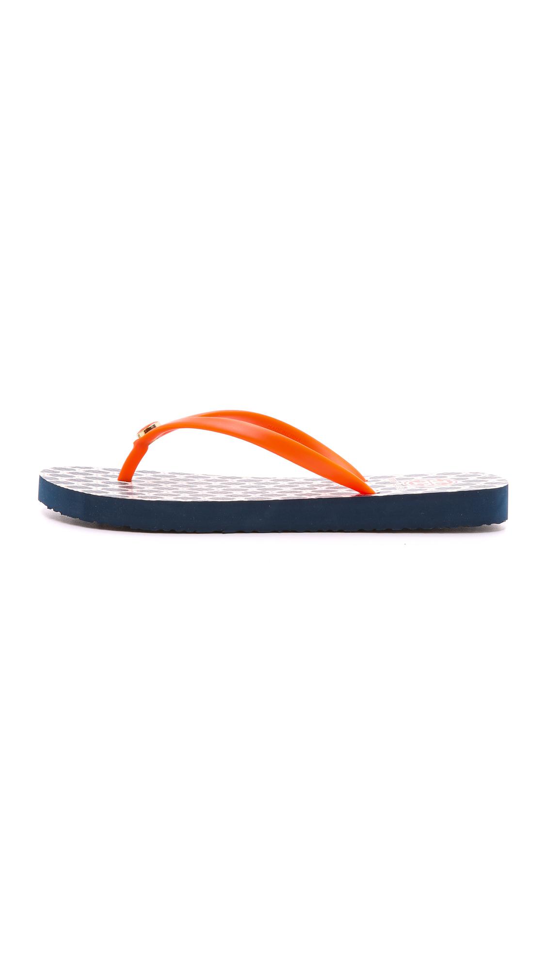 Tory Burch Thin Flip Flops - Sun Coralwooly Dot In Blue -4800