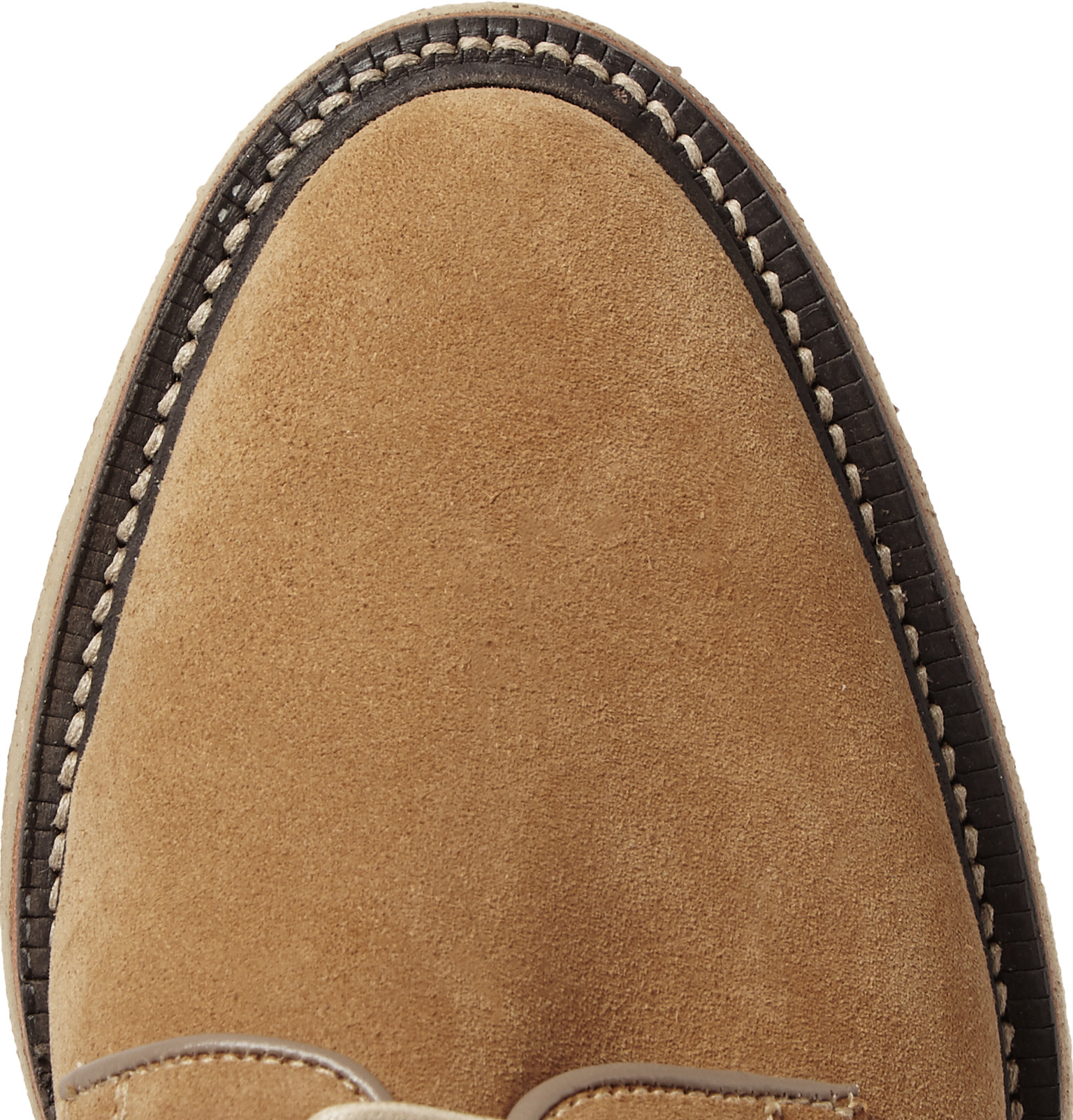 Thom Browne Suede Derby Shoes in Camel (Natural) for Men