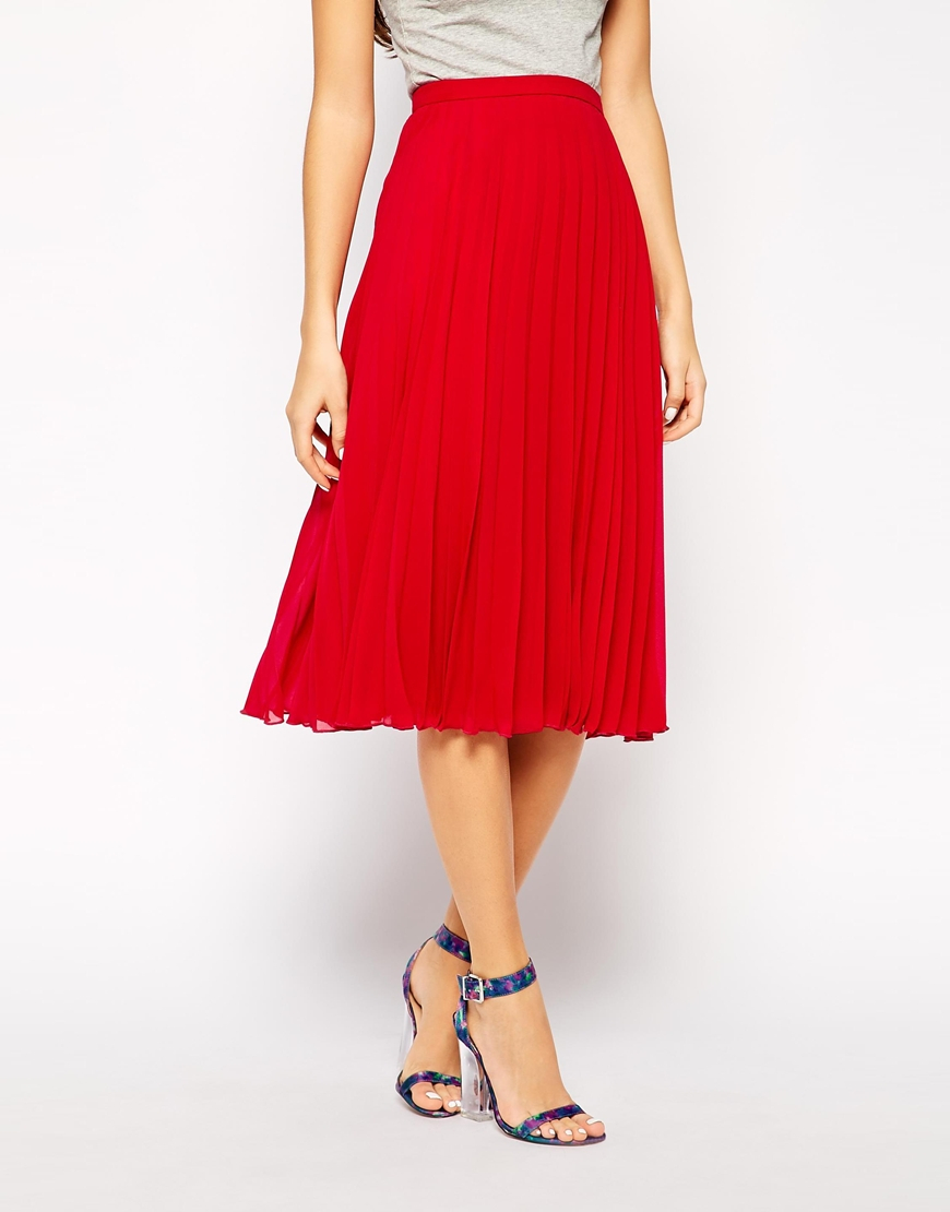 Asos Midi Pleated Skirt in Red | Lyst
