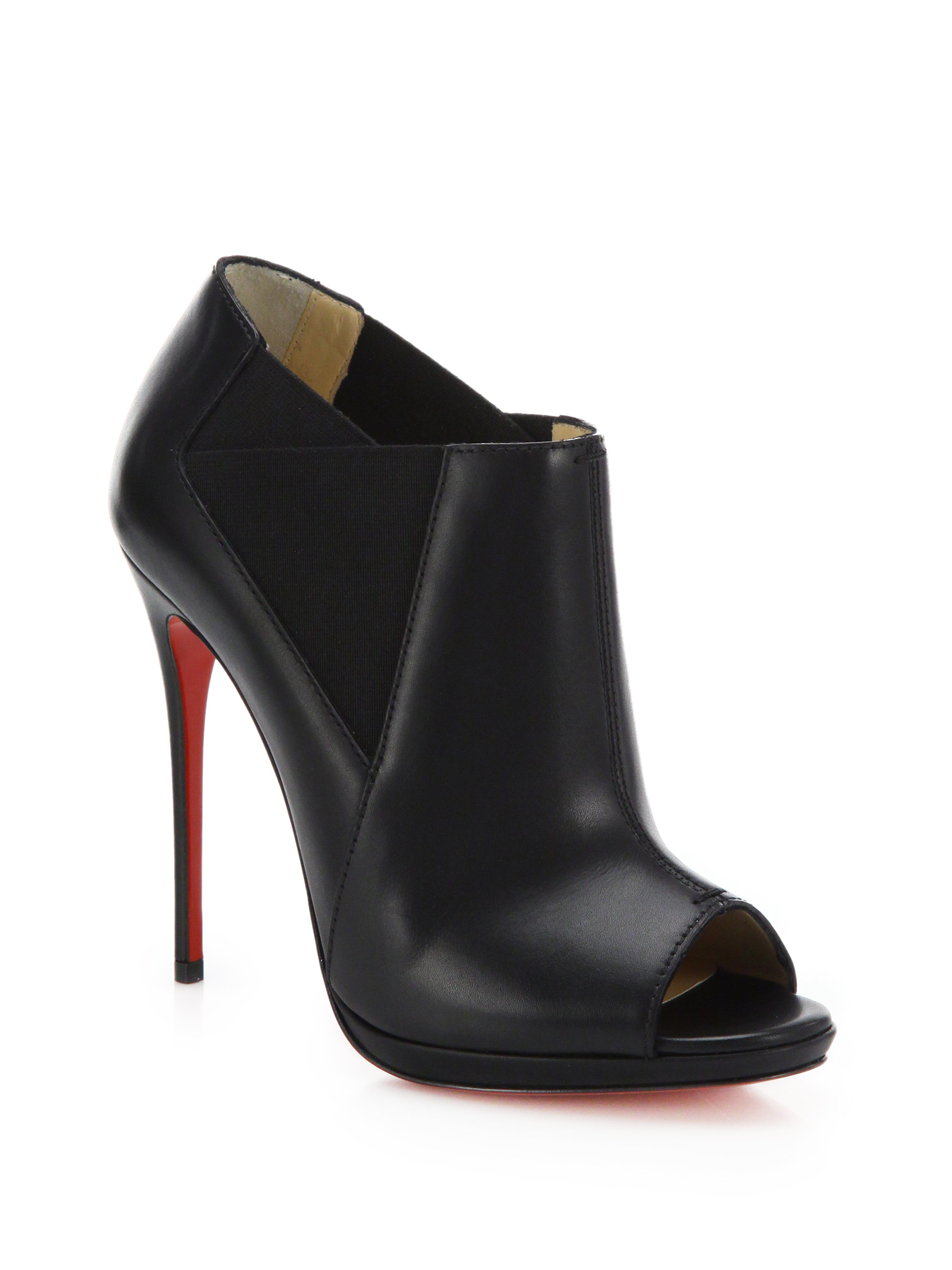 christian louboutin men loafers - Christian louboutin Bootstagram Leather Peep-Toe Booties in Black ...