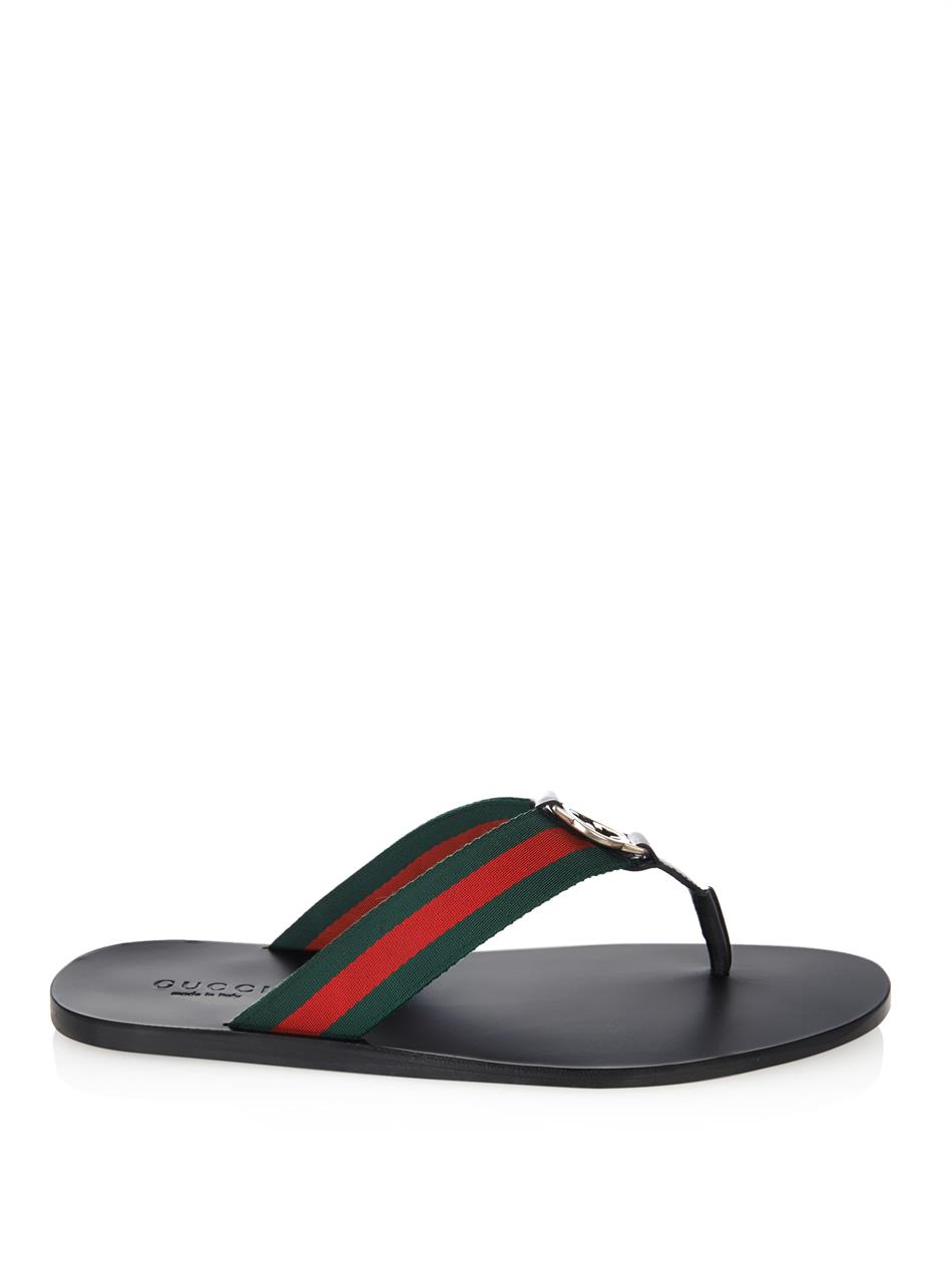 97f7ad02d42f4d Lyst - Gucci Web Thong Flip-Flops in Black for Men