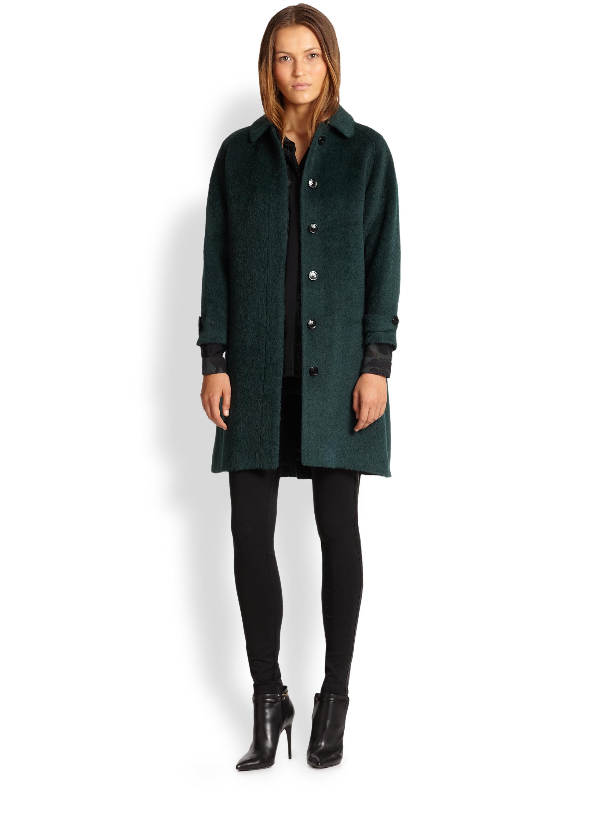 Fresh Lyst - Burberry Cartington Alpaca Wool Coat in Green TT08