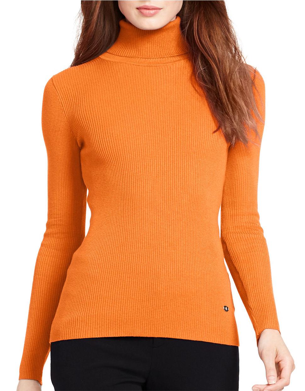 Lauren by ralph lauren Petite Ribbed Turtleneck Sweater in Orange ...