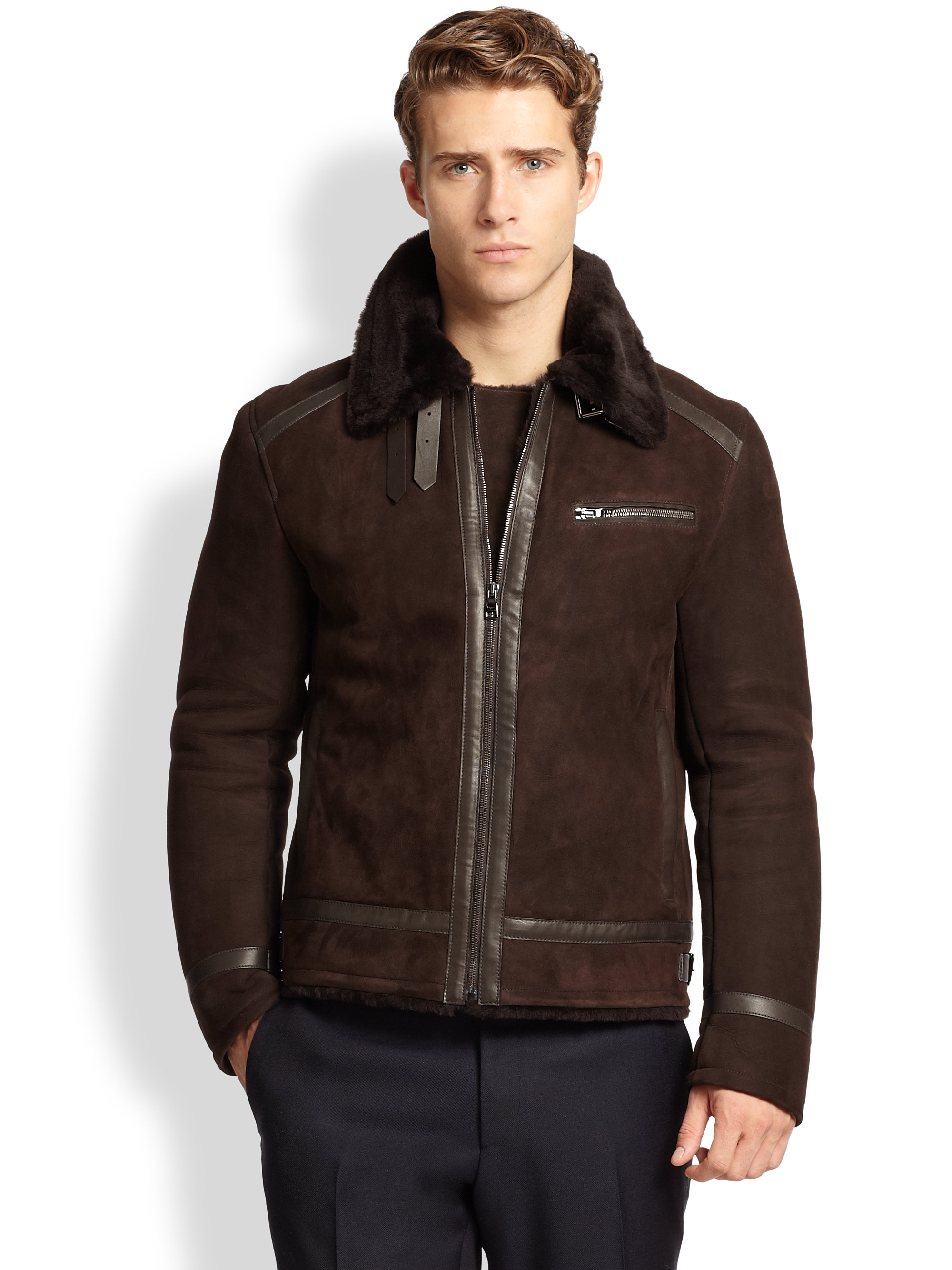 Ferragamo Leather-trimmed Shearling Jacket in Brown for ...