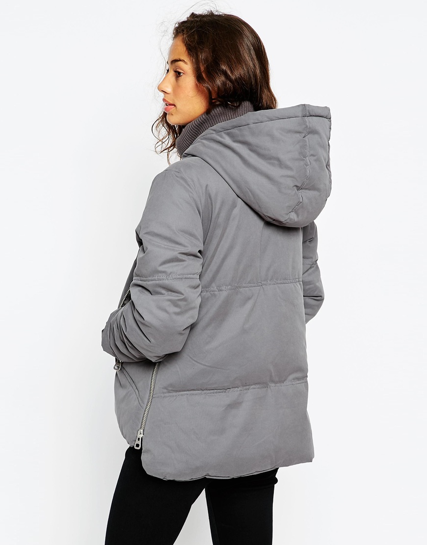 Lyst Asos Padded Jacket In Gray