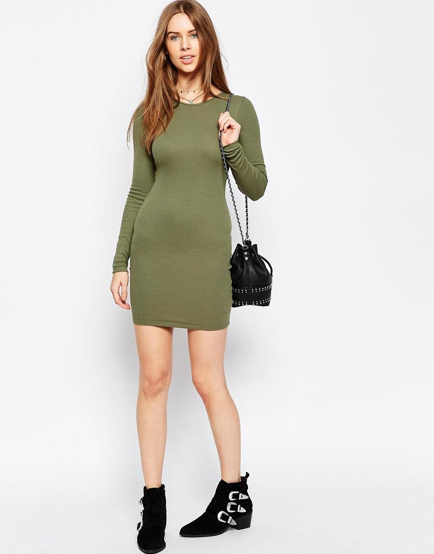 fe9cf098398 Lyst - ASOS Mini Bodycon Dress With Long Sleeves In Rib - Green in Green