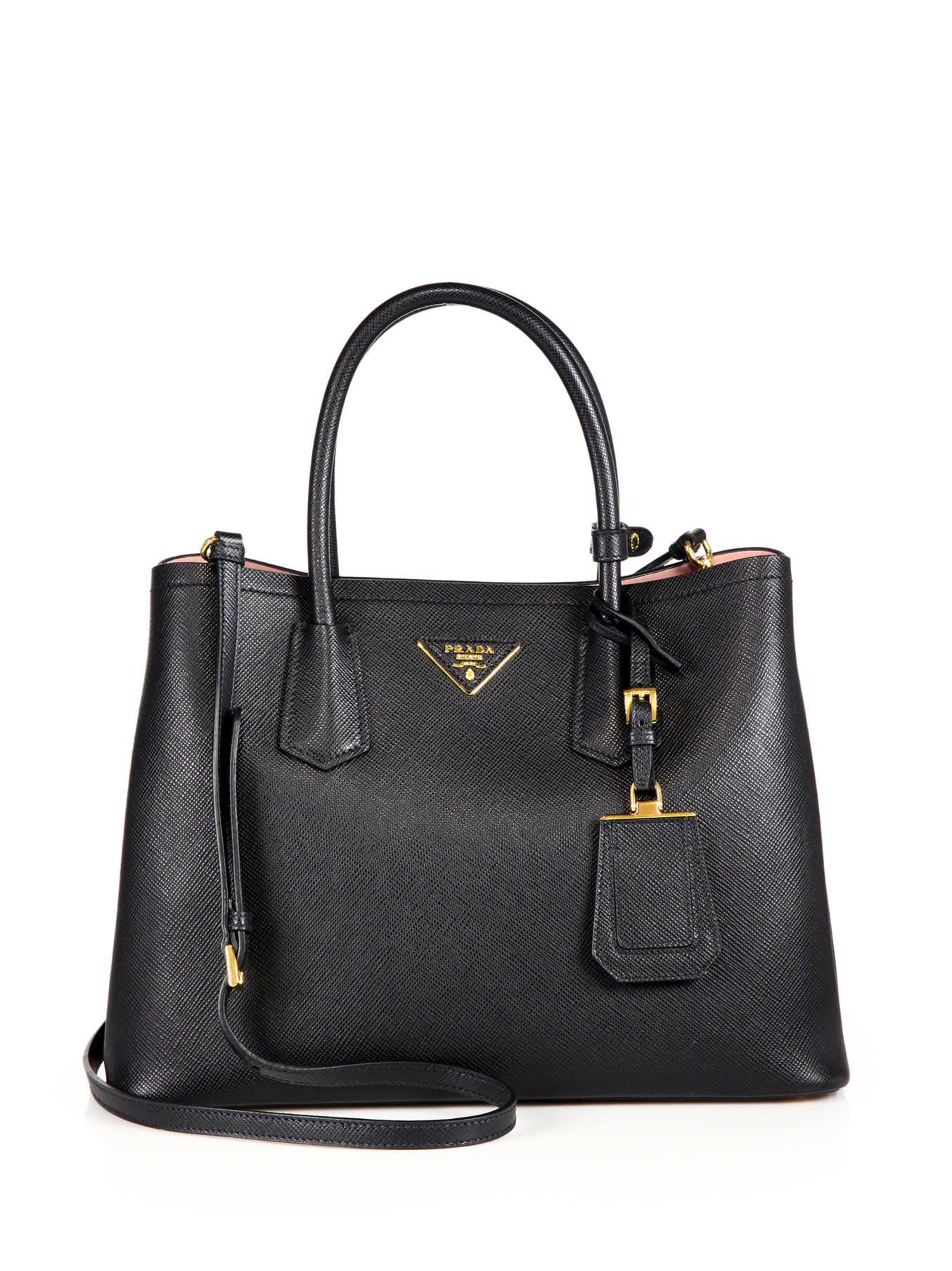 prada medium saffiano leather double bag in black black. Black Bedroom Furniture Sets. Home Design Ideas