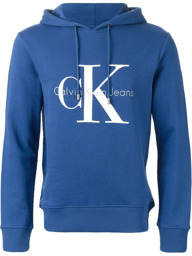calvin klein jeans logo print hoodie in blue for men lyst. Black Bedroom Furniture Sets. Home Design Ideas