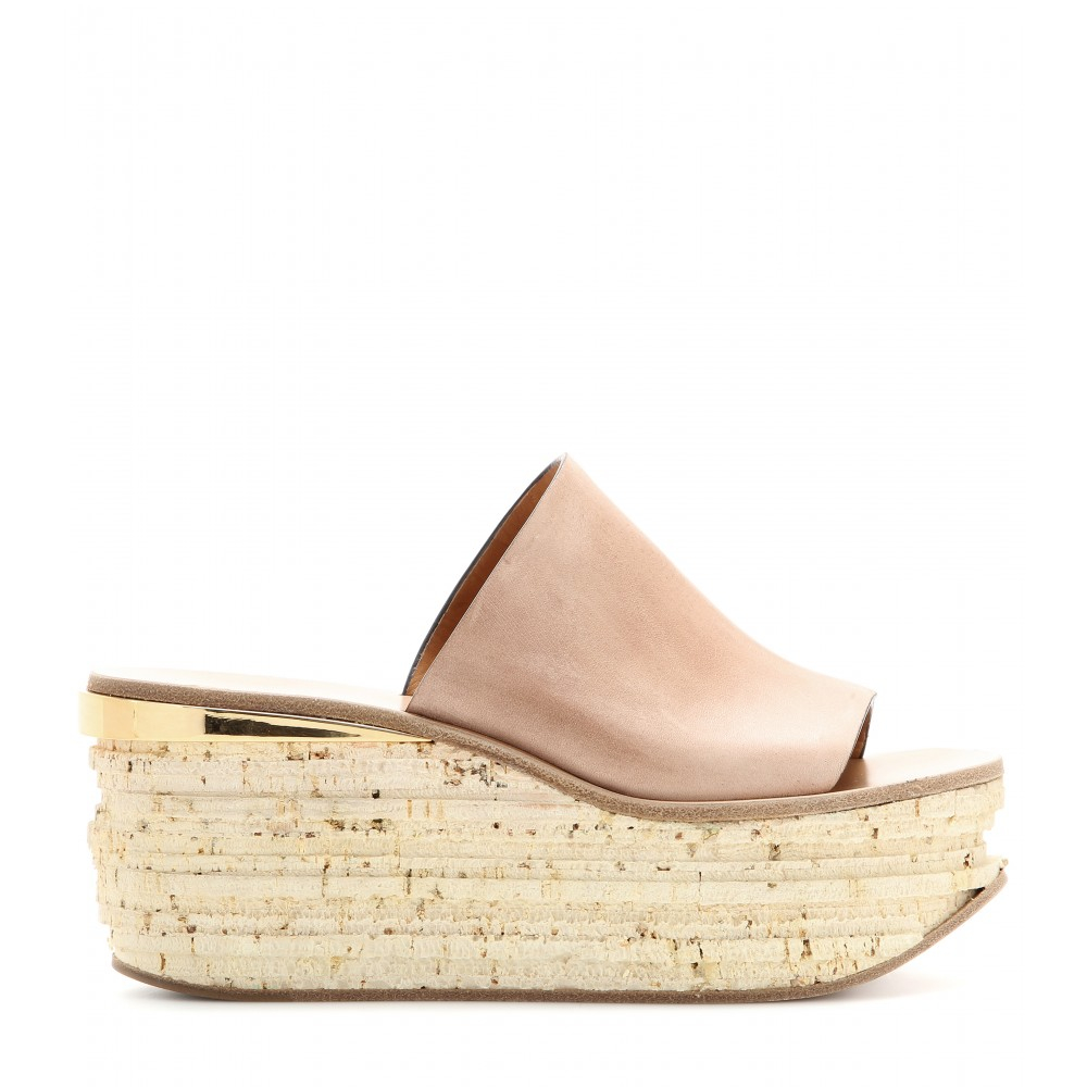 459eaba869cc Lyst - Chloé Camille Leather Cork Wedge Mules in Pink