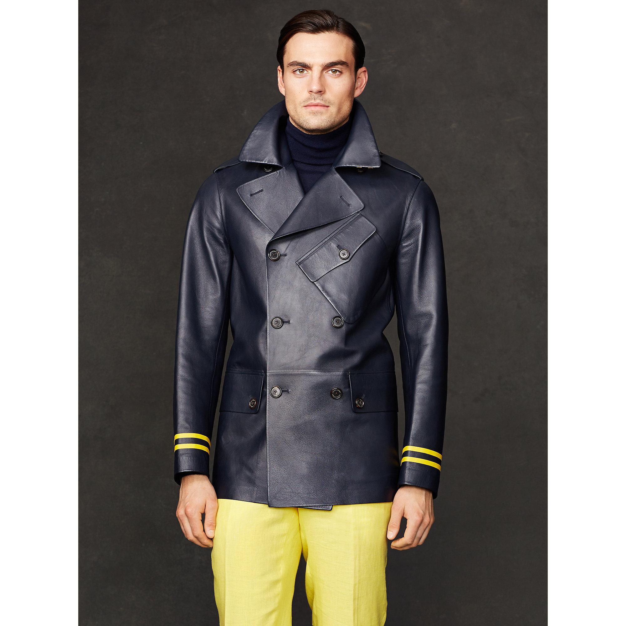 Ralph lauren purple label Leather Bridgewater Pea Coat in Blue for ...