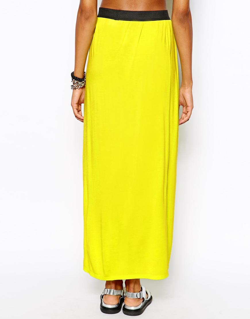 monki wrap maxi skirt in yellow lyst