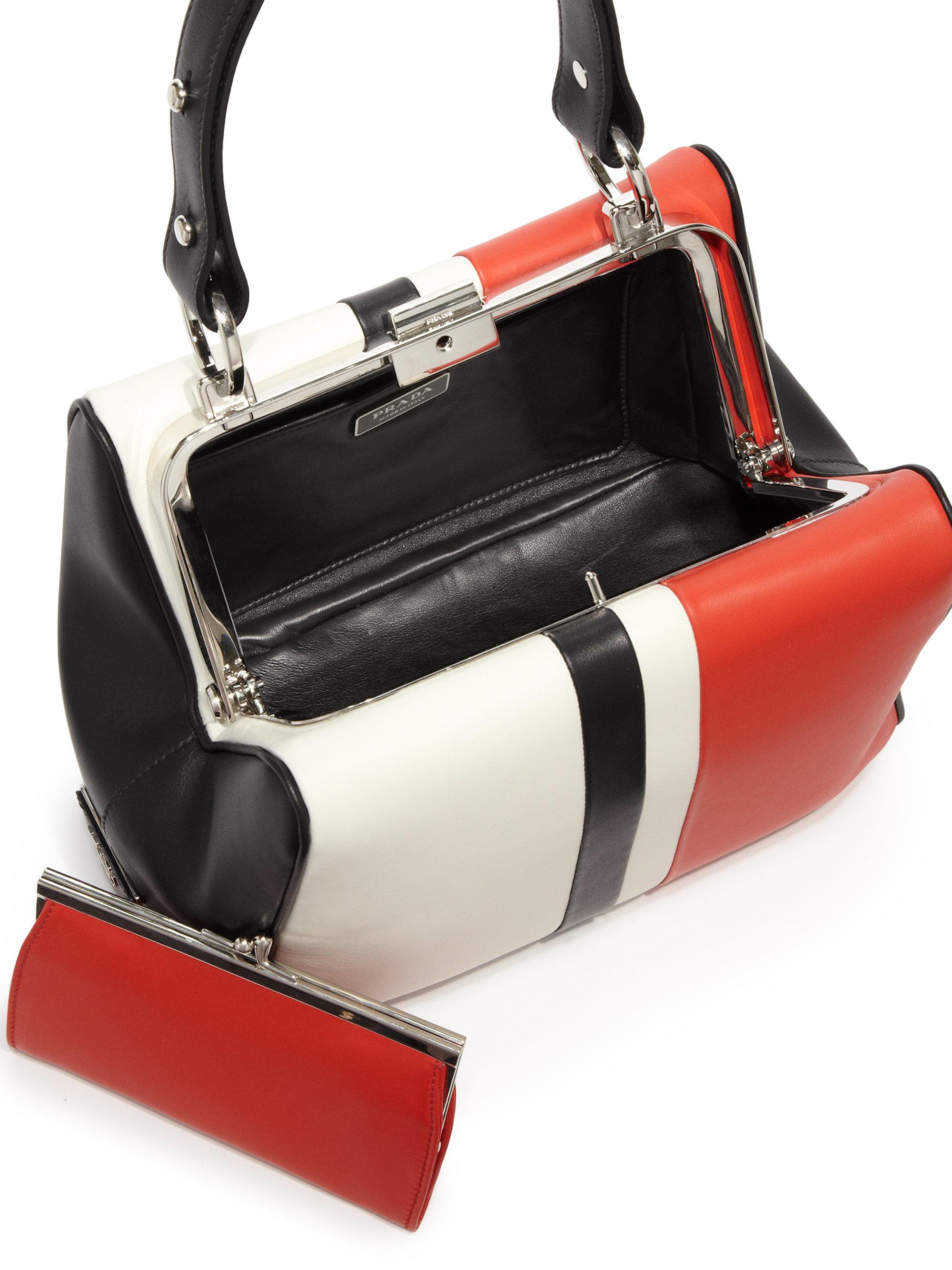 Prada Calf Baiadera Small Frame Bag in Black (white-red) | Lyst
