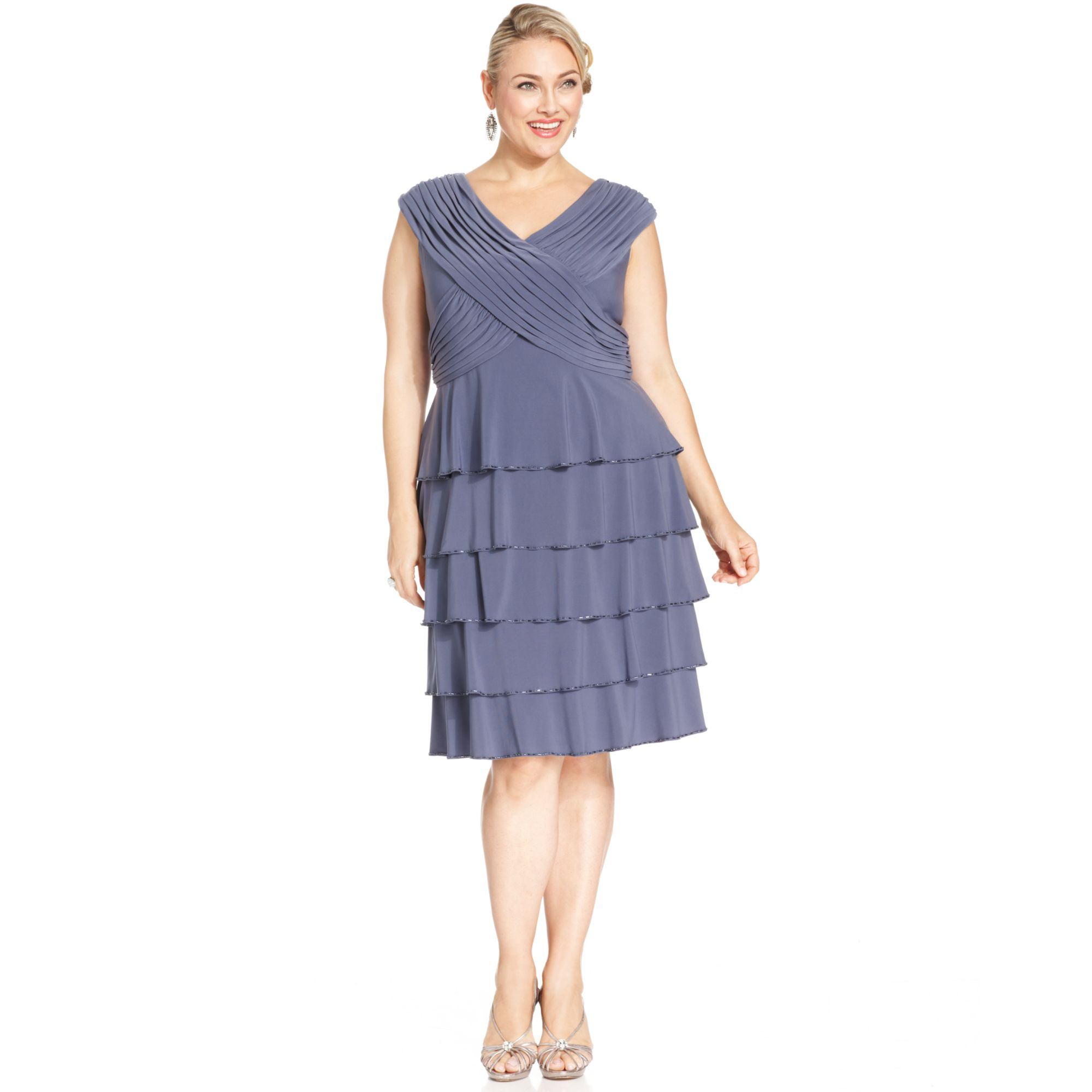 Patra Blue Plus Size Beadtrim Tiered Dress