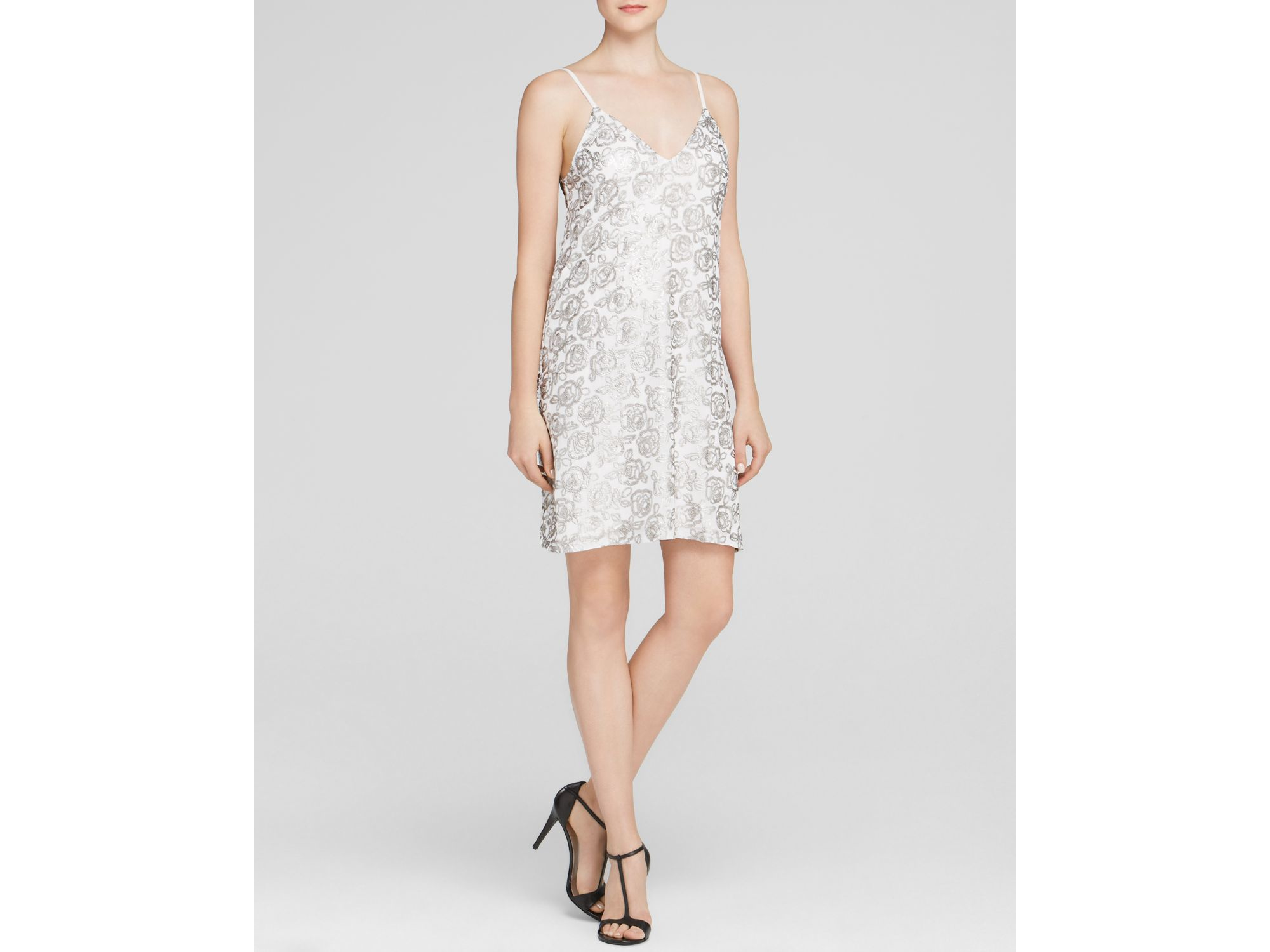 Aqua Cupped Rose Sequin Mini Dress   Bloomingdale's Exclusive in ...