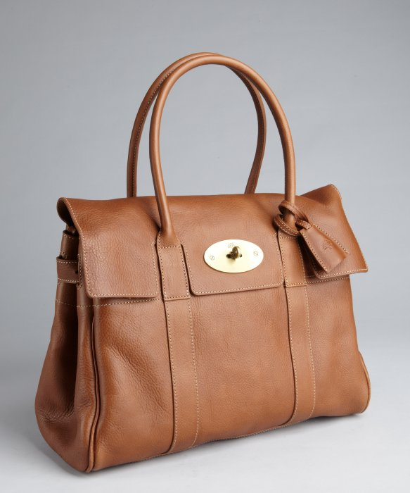 Mulberry oak brown leather bayswater top handle bag in for The bayswater
