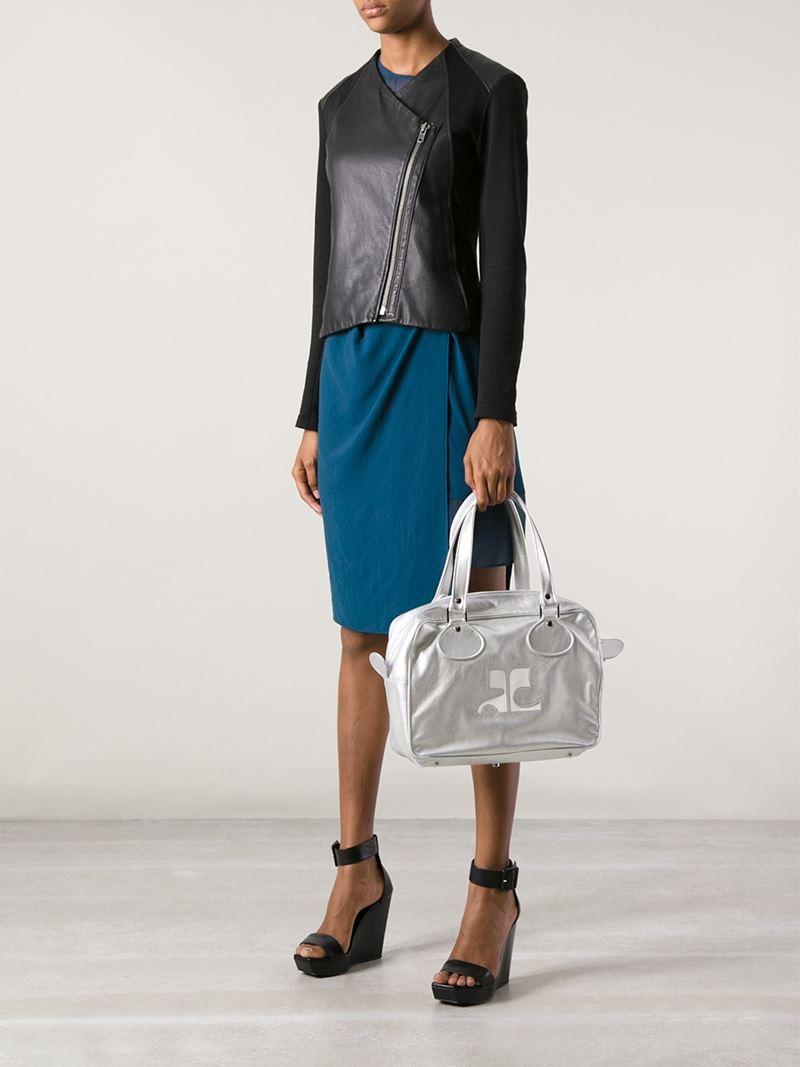 Courreges Tote Bag in Metallic (White)