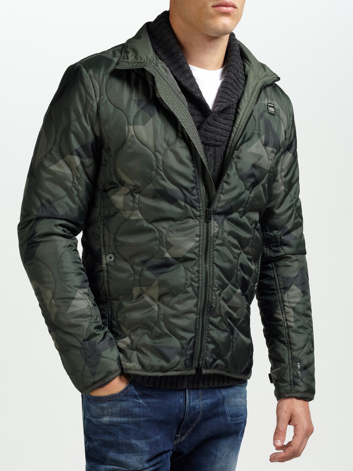 g star raw nolker camouflage padded jacket in green for men lyst. Black Bedroom Furniture Sets. Home Design Ideas