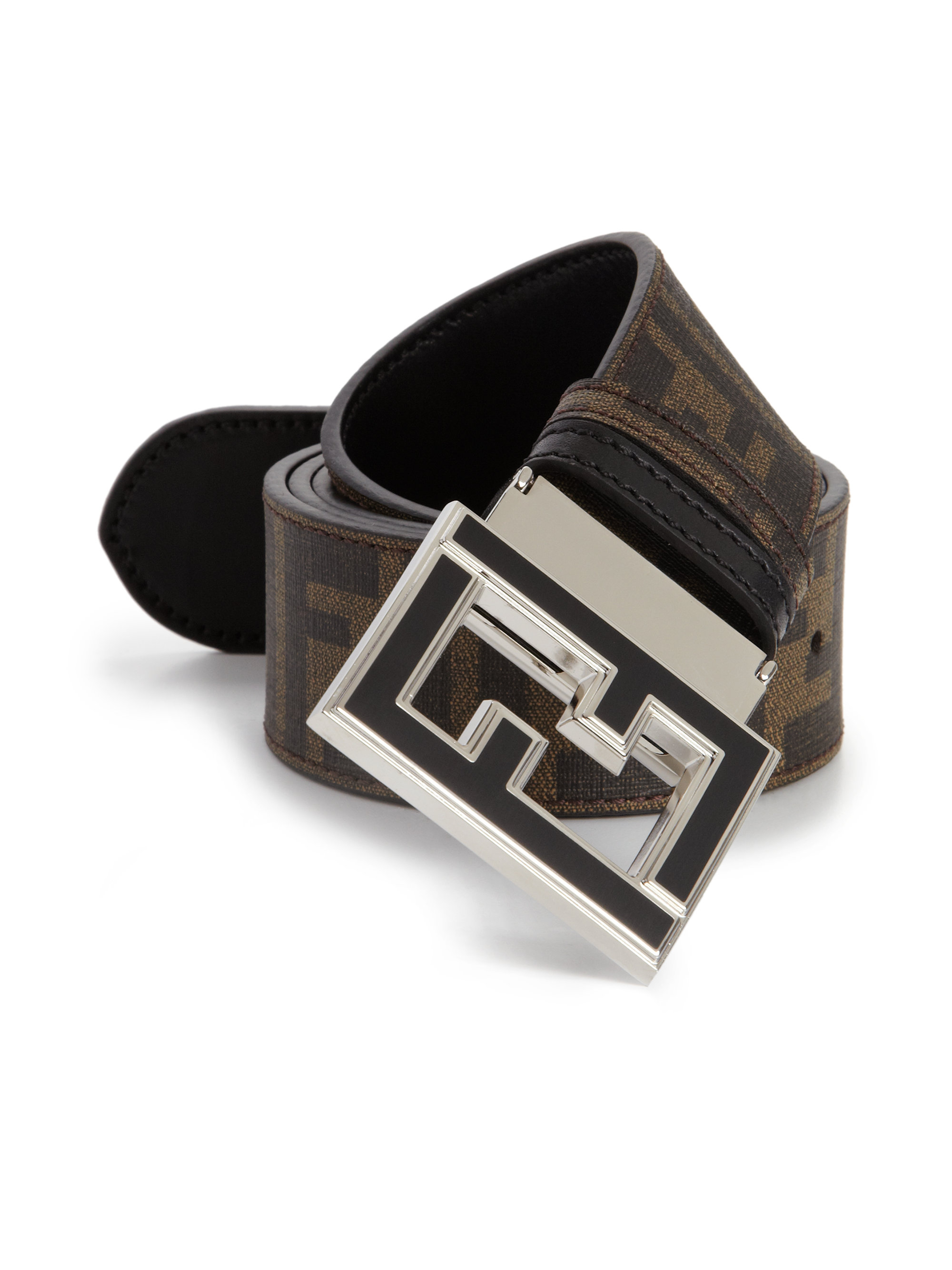 fendi logo college belt in brown for men lyst