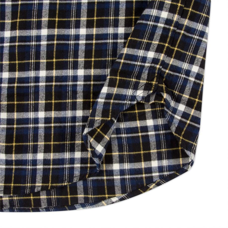 Lyst paul smith men 39 s black and navy plaid cotton blend for Navy blue plaid shirt