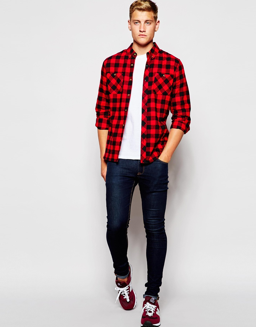 Lyst d struct alaska flannel check shirt in red for men for How to wear men s flannel shirts