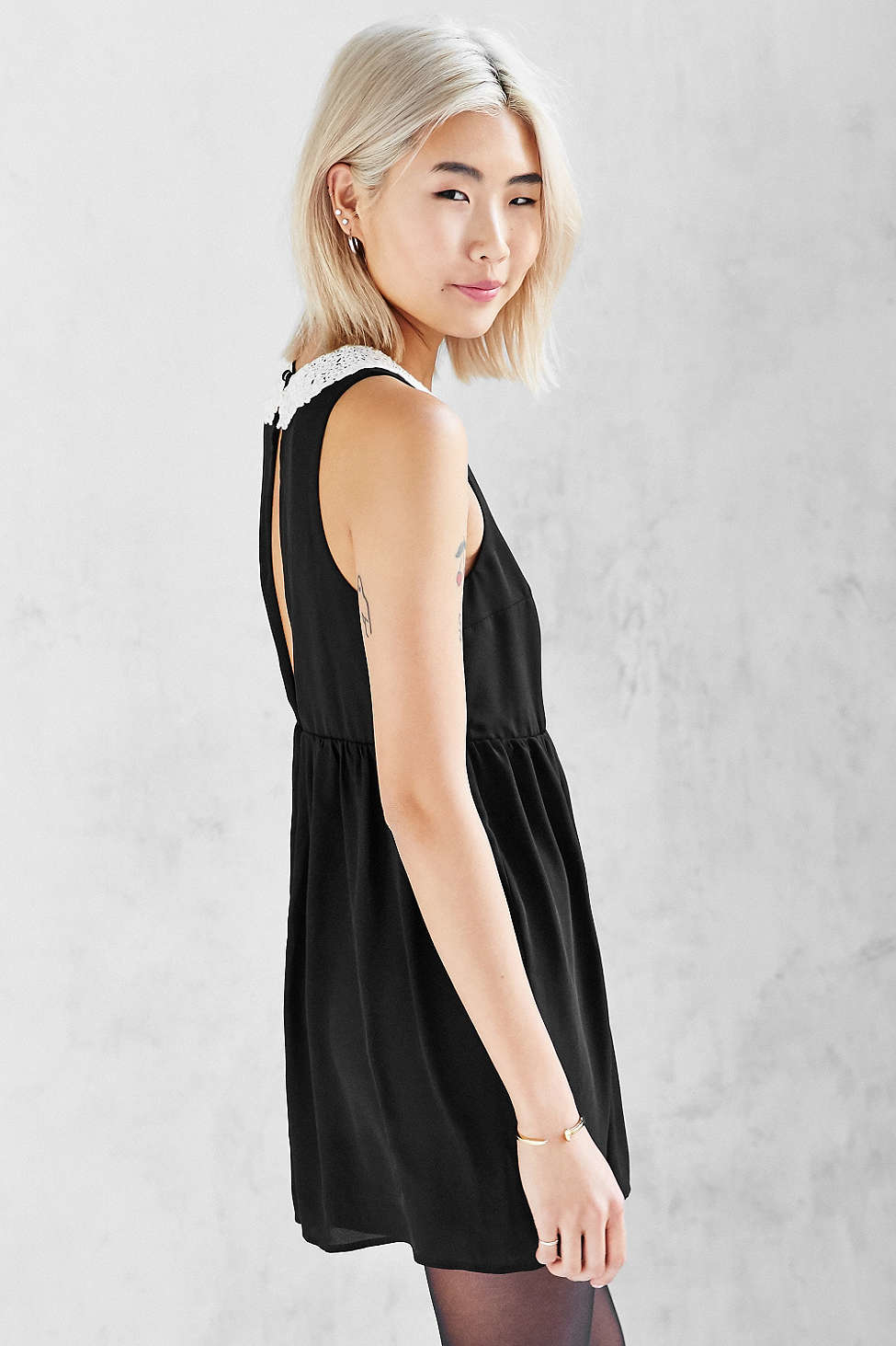 Lyst Cooperative Lace Collar Babydoll Romper In Black