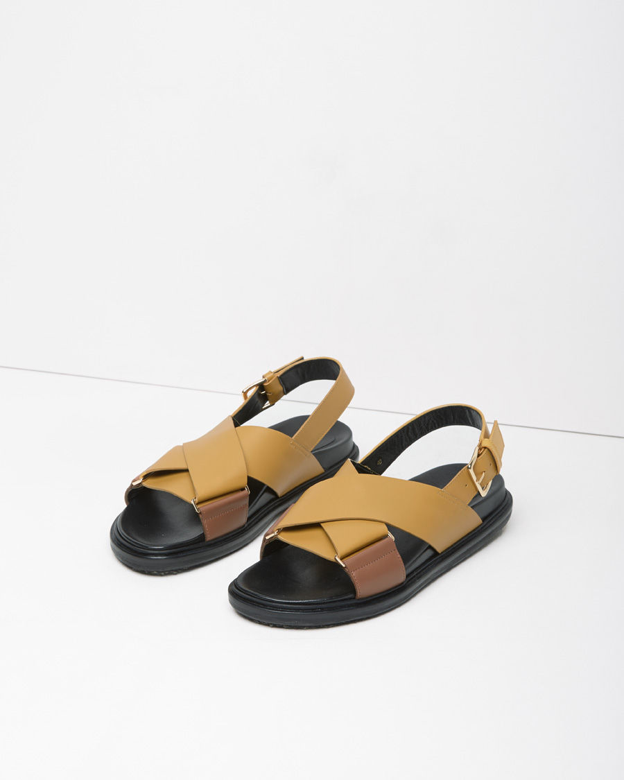 Marni Criss Cross Leather Fussbett Sandal In Yellow Lyst