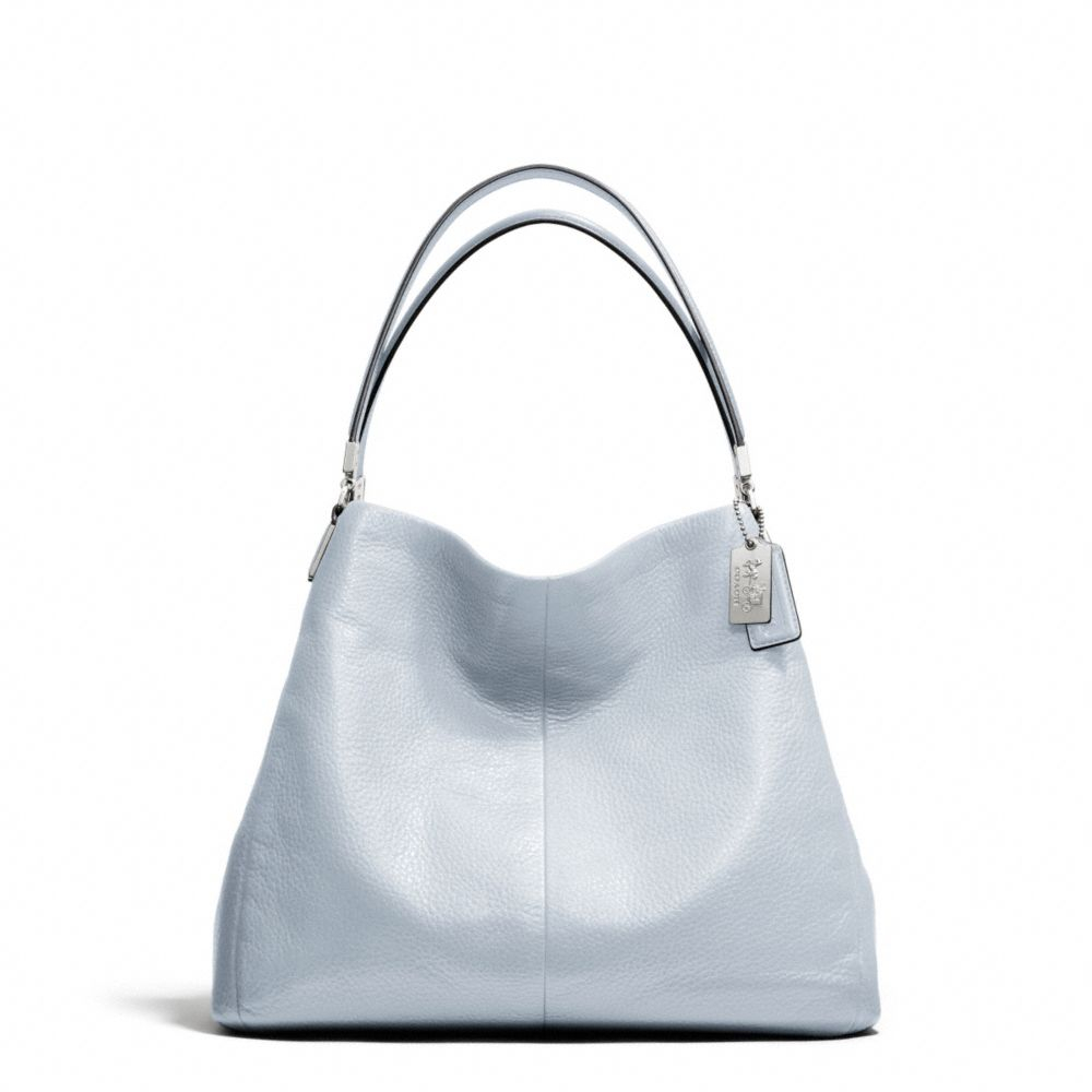 7fe0018b68 Lyst - COACH Madison Small Phoebe Shoulder Bag In Leather in Gray