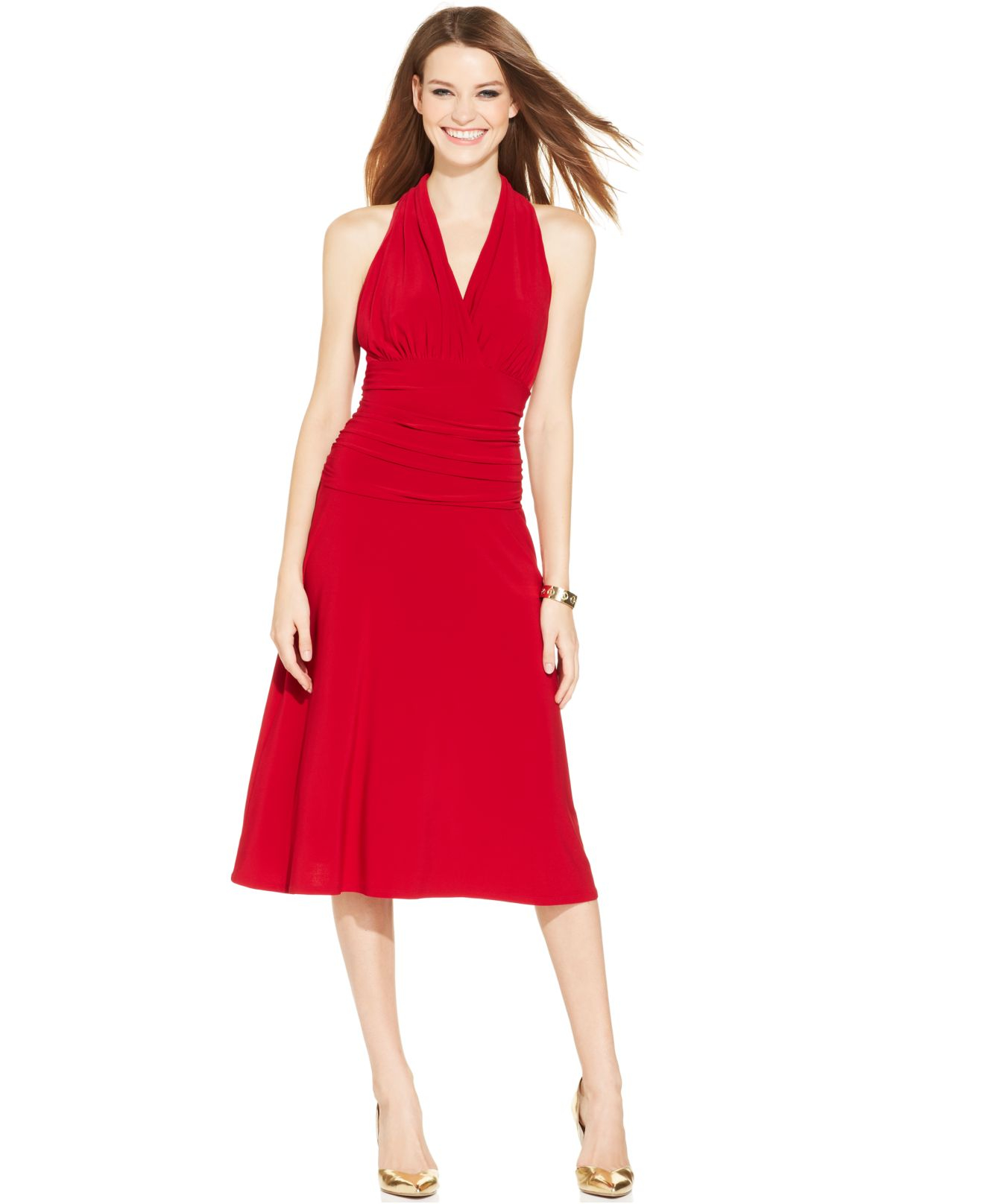 Nine west Sleeveless Ruched Halter Dress in Red - Lyst