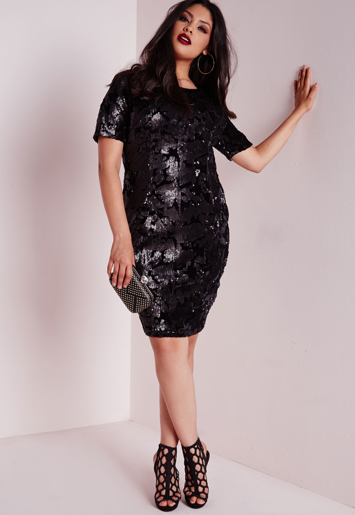 Plus Size Sequin Dress Black