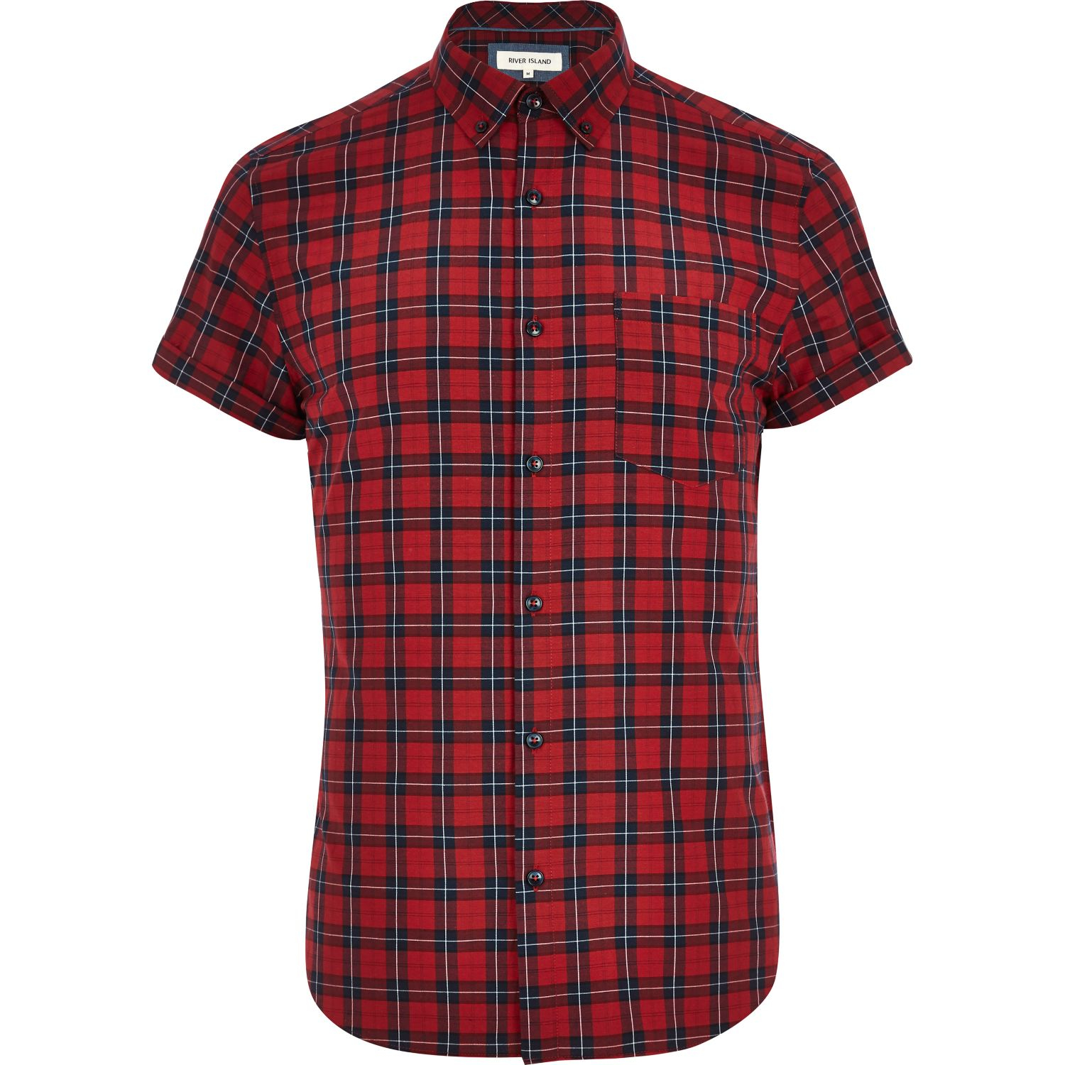 River island red plaid short sleeve shirt in red for men Short sleeve plaid shirts