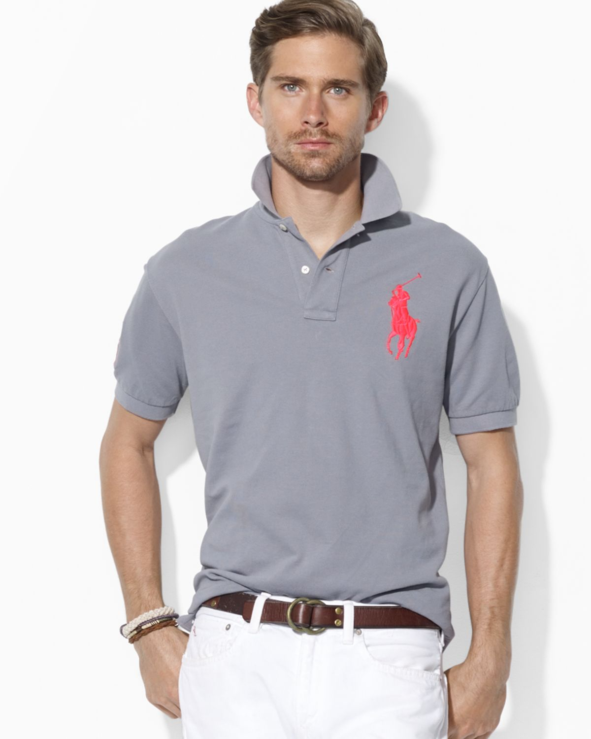 Ralph lauren Polo Custom Fit Big Pony Mesh Polo Shirt in Gray for Men (Museum