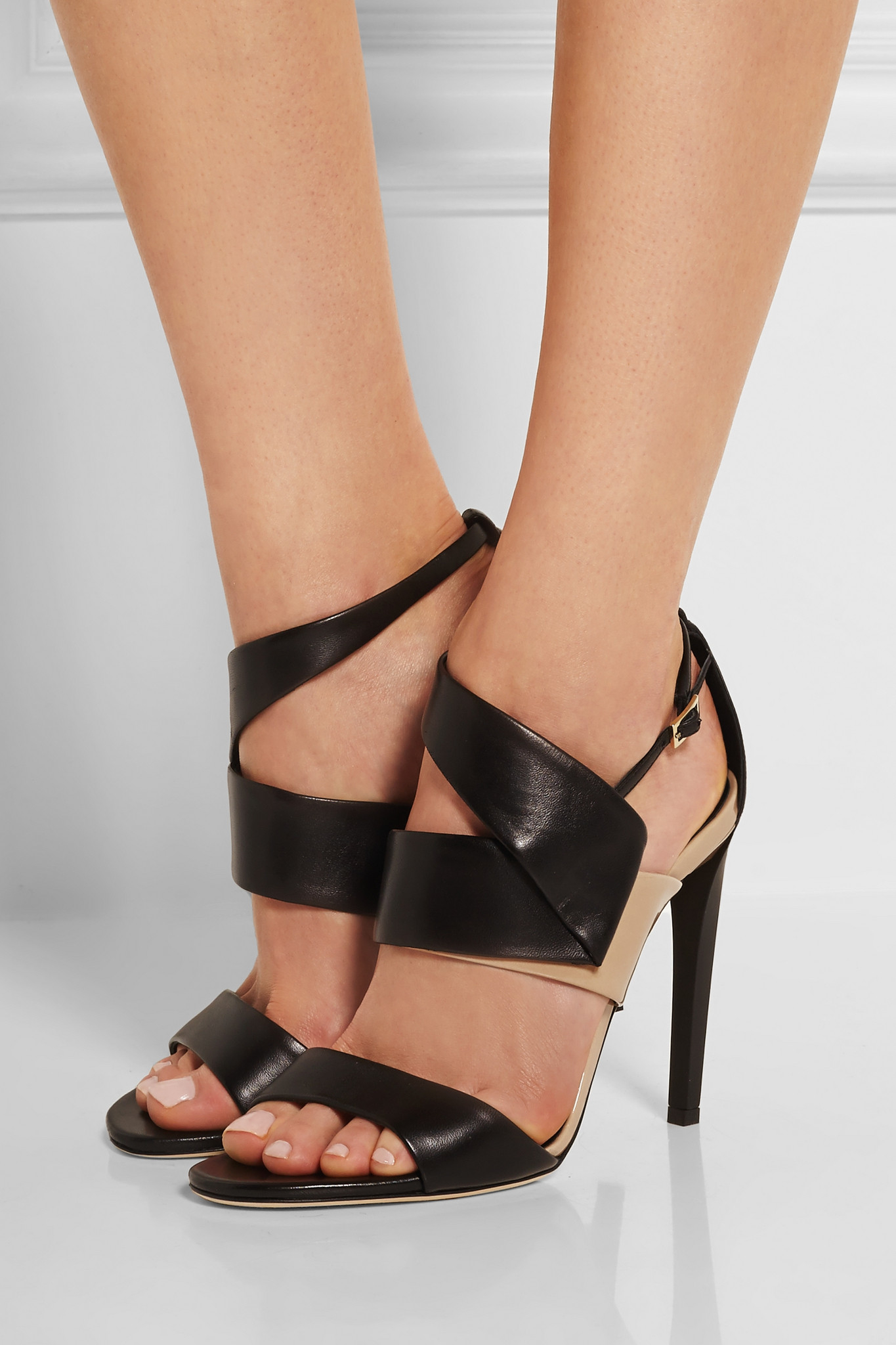 Lyst Jimmy Choo Trapeze Leather Sandals In Black