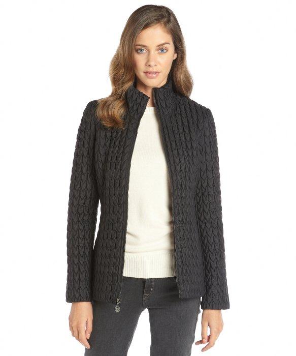 Anne Klein Black Nylon Popcorn Quilted Zip Front Jacket In