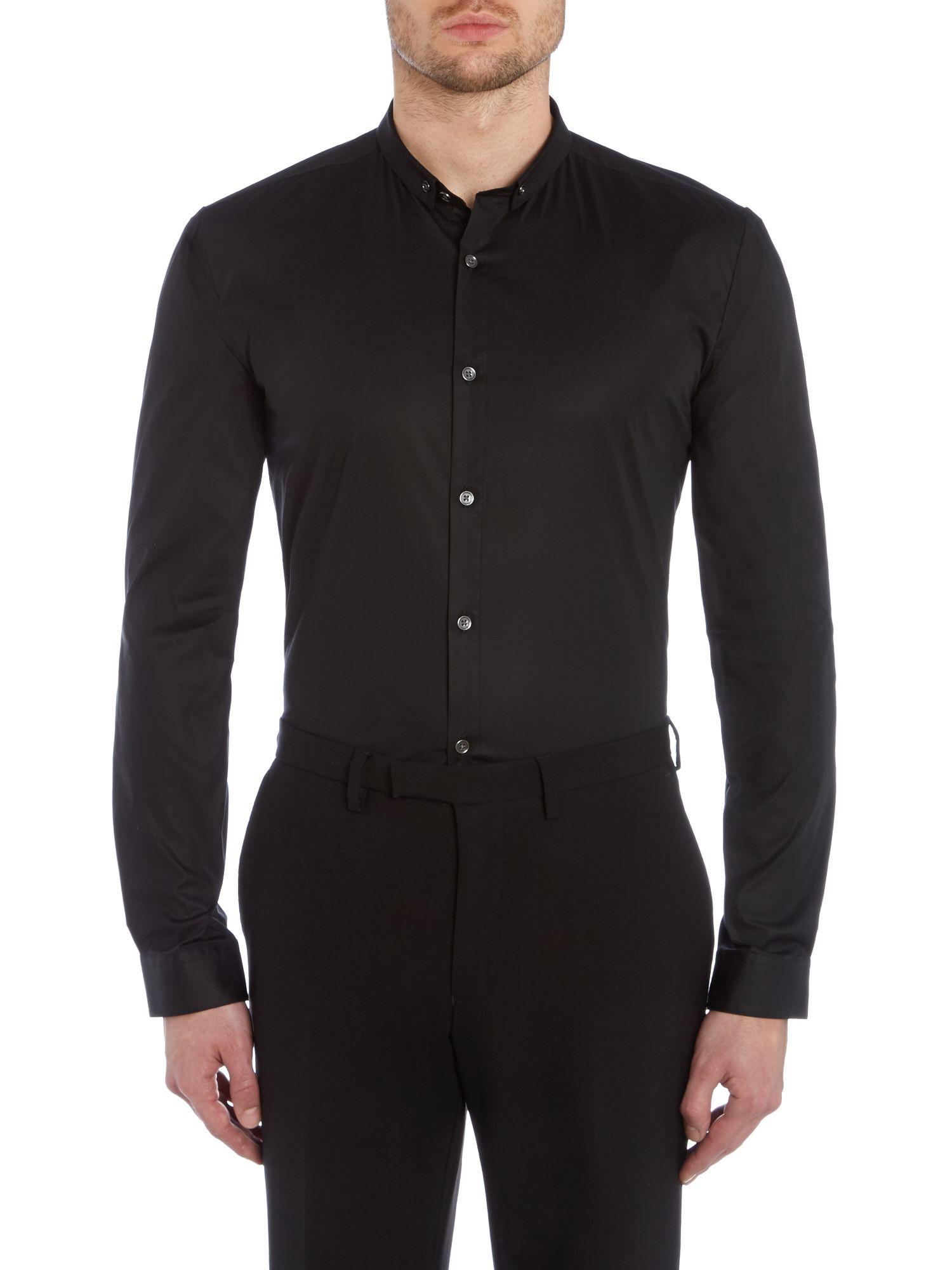 hugo erren slim fit penny collar shirt in black for men lyst. Black Bedroom Furniture Sets. Home Design Ideas