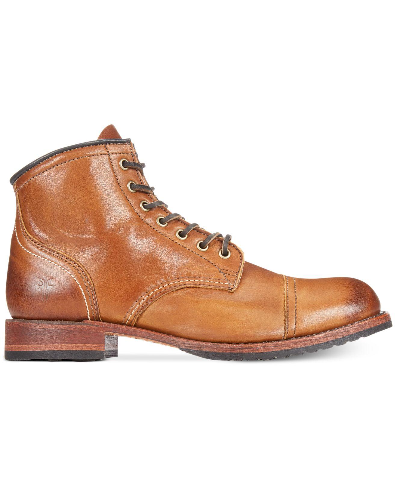b1cac5dae38 Frye Brown Logan Cap Toe Boots for men