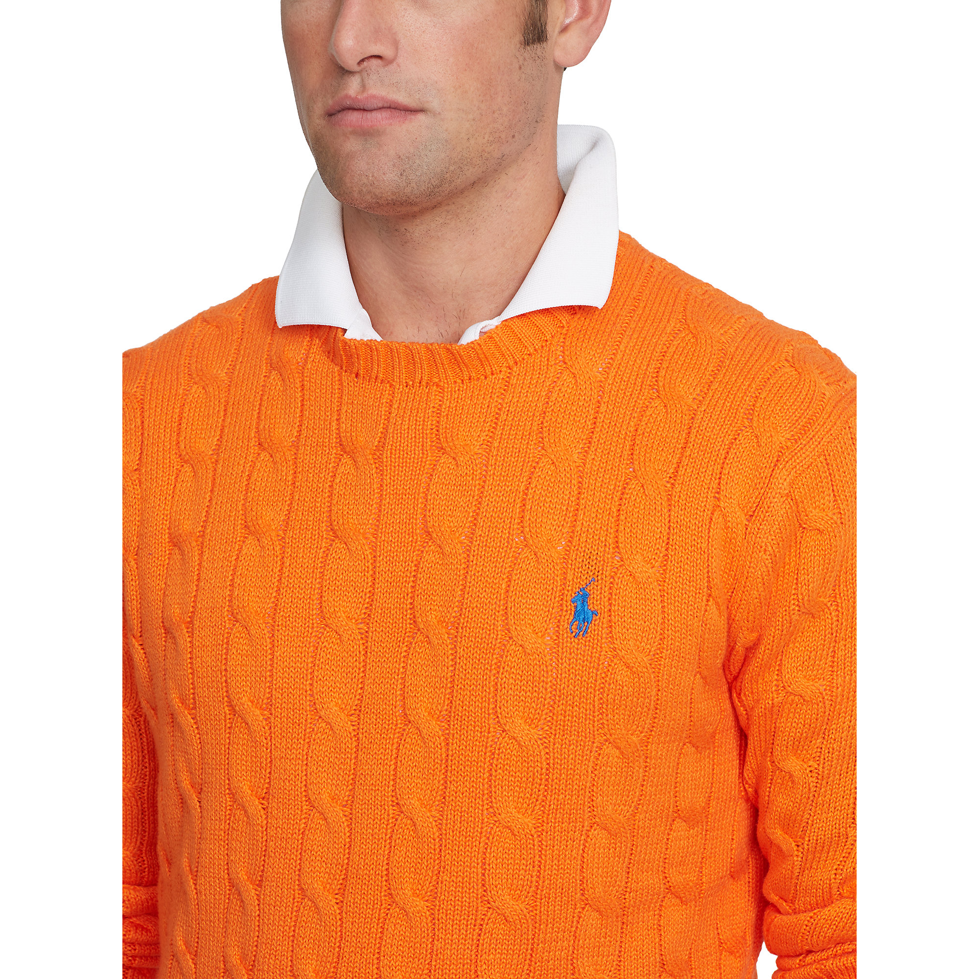 Polo Ralph Lauren Cable Knit Cotton Sweater In Orange For Men Lyst
