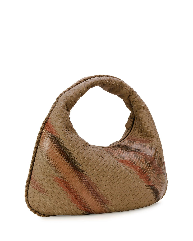 Bottega veneta Large Veneta Shadow-embroidered Snakeskin Hobo Bag ...