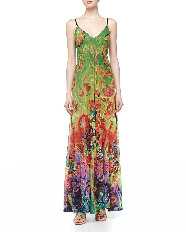 902d02f7d8e Alberto Makali Green Mesh Knit Tropical Swirl Print Maxi Dress