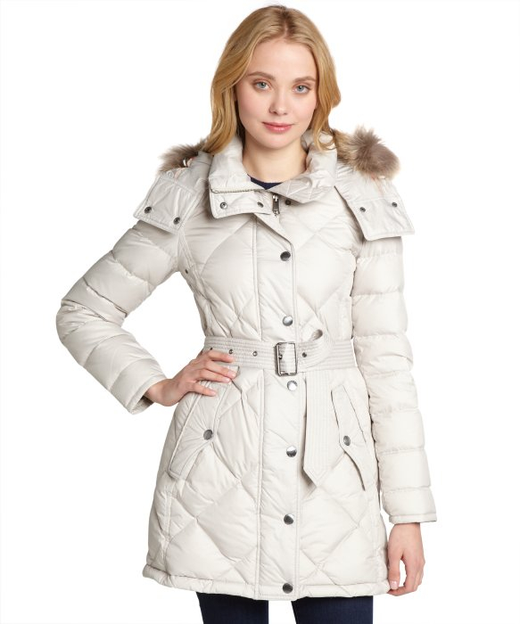 Light Down White Lyst Quilted In Burberry Coat Filled Trim Fur