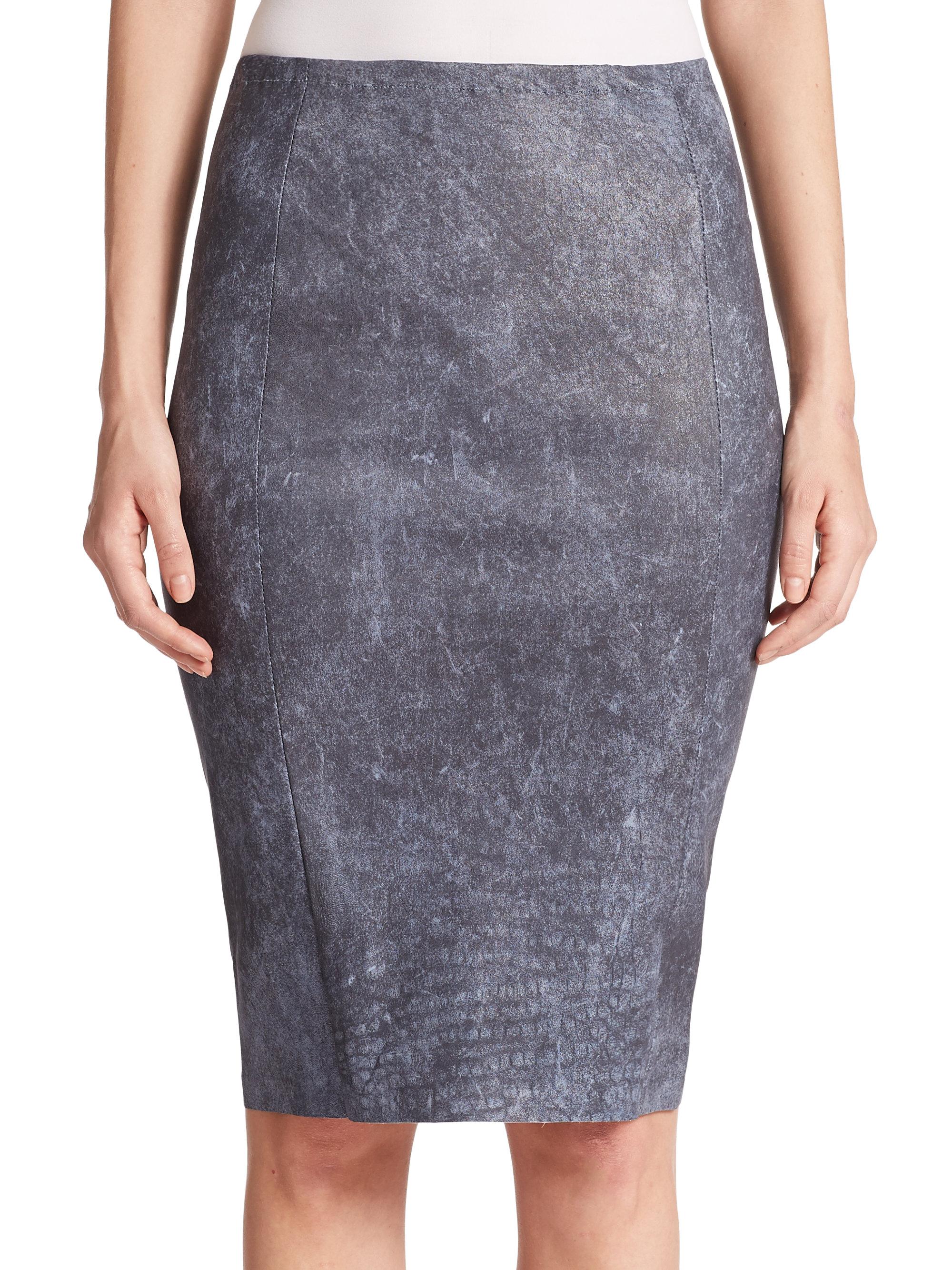 Elie tahari Pamela Leather Pencil Skirt in Blue | Lyst