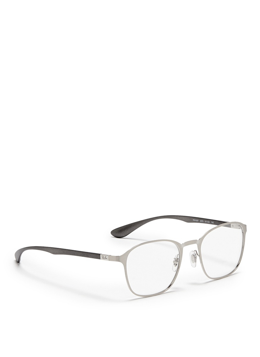 Lyst - Ray-Ban Square Metal Frame Optical Glasses in Metallic for Men