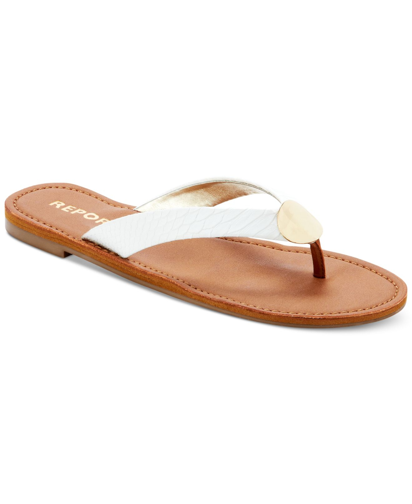 9dfa273c6d85a Lyst - Report Shields Flat Thong Sandals in White