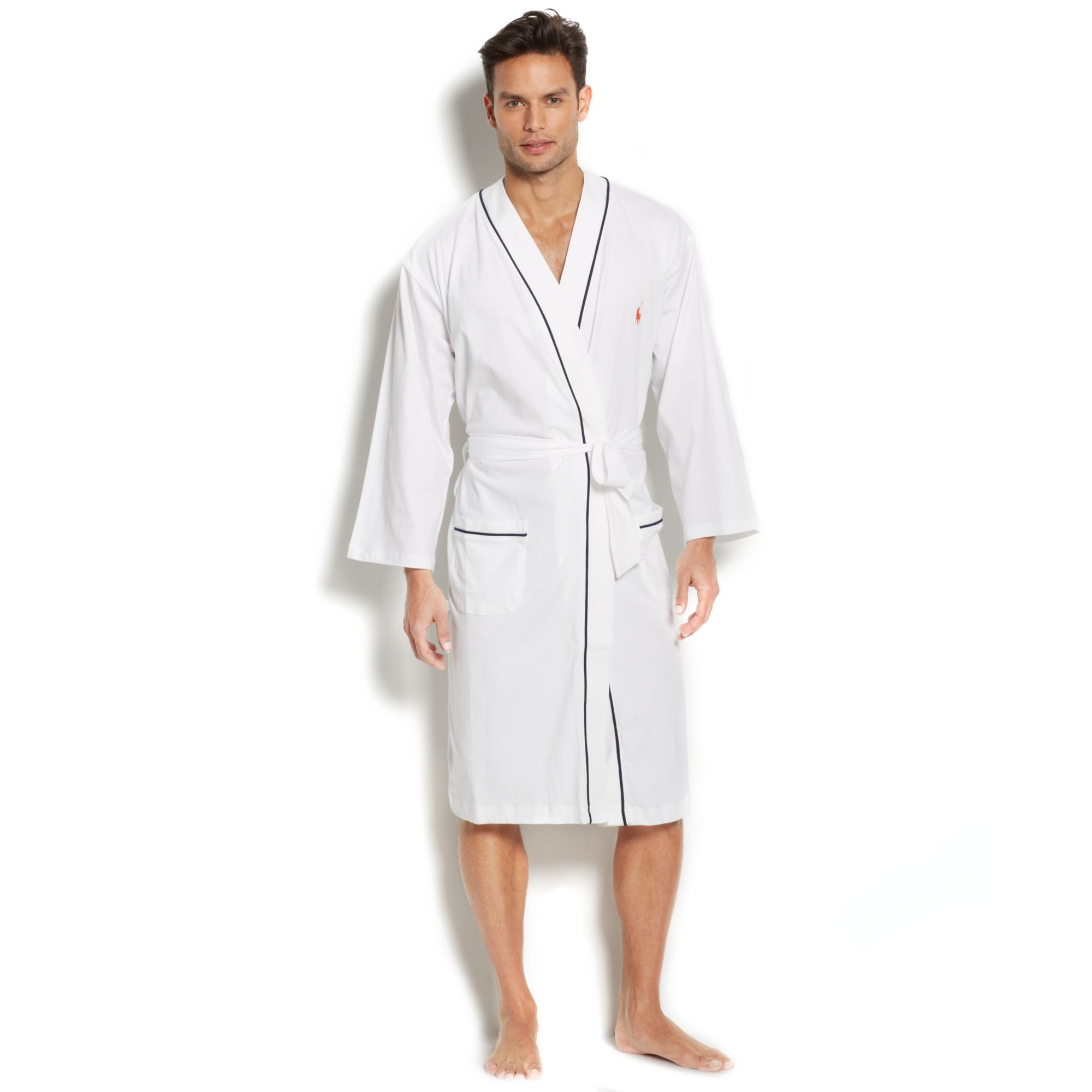 ralph lauren polo mens jersey kimono robe in white for men lyst. Black Bedroom Furniture Sets. Home Design Ideas