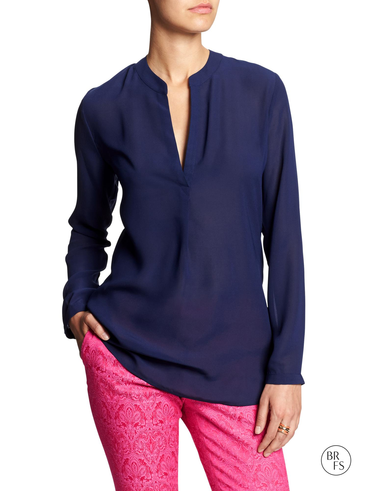 Banana Republic Factory Sheer Georgette Blouse Navy Star