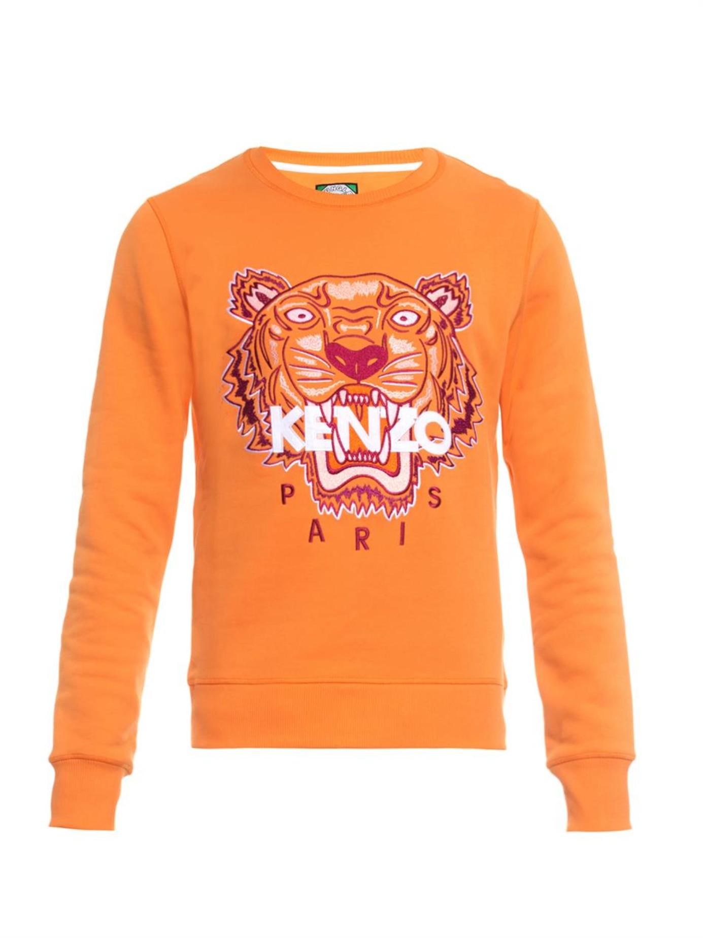 Orange Sweatshirt Men For Kenzo Tiger Embroidered hQrsdt
