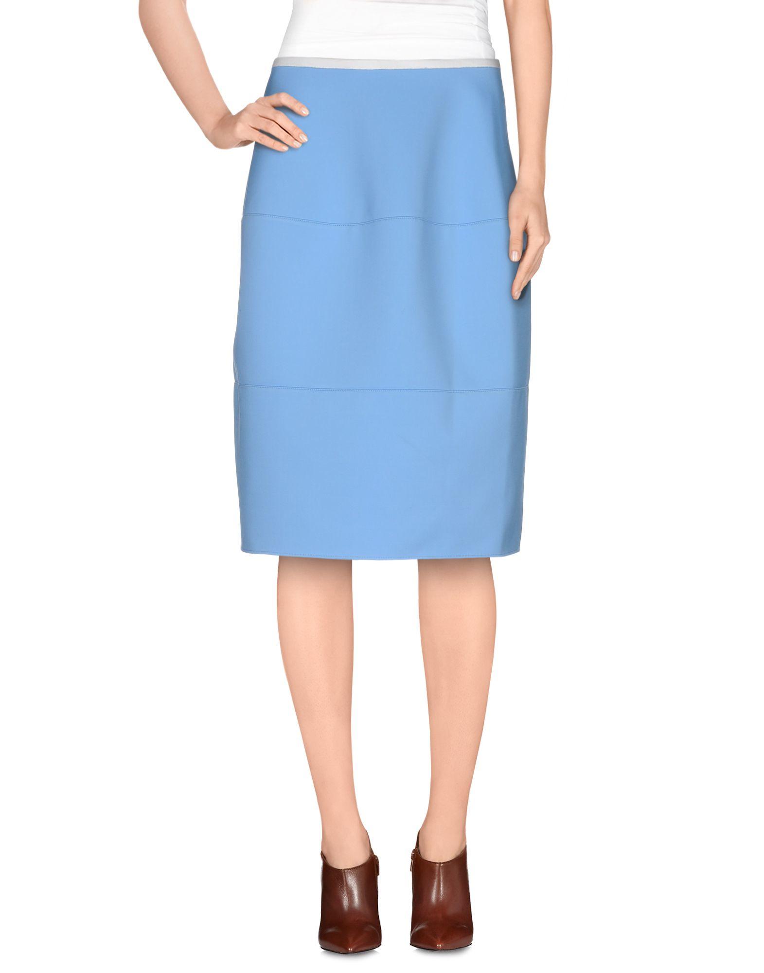 jil sander navy knee length skirt in blue lyst